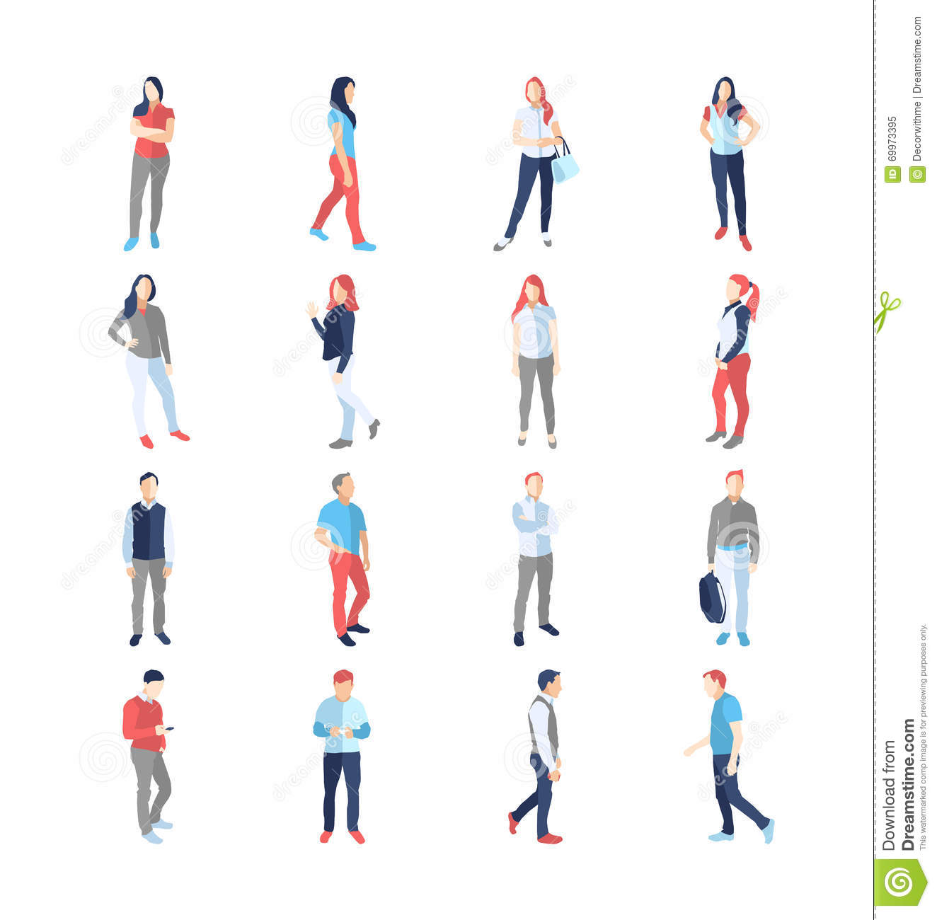 People, Male, Female, In Different Casual Common Poses