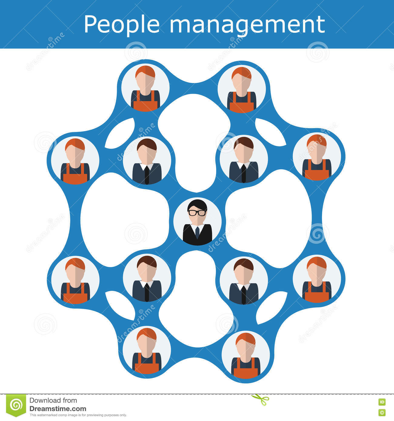 People Management Concept Vector Illustration. Office Hierarchy ...