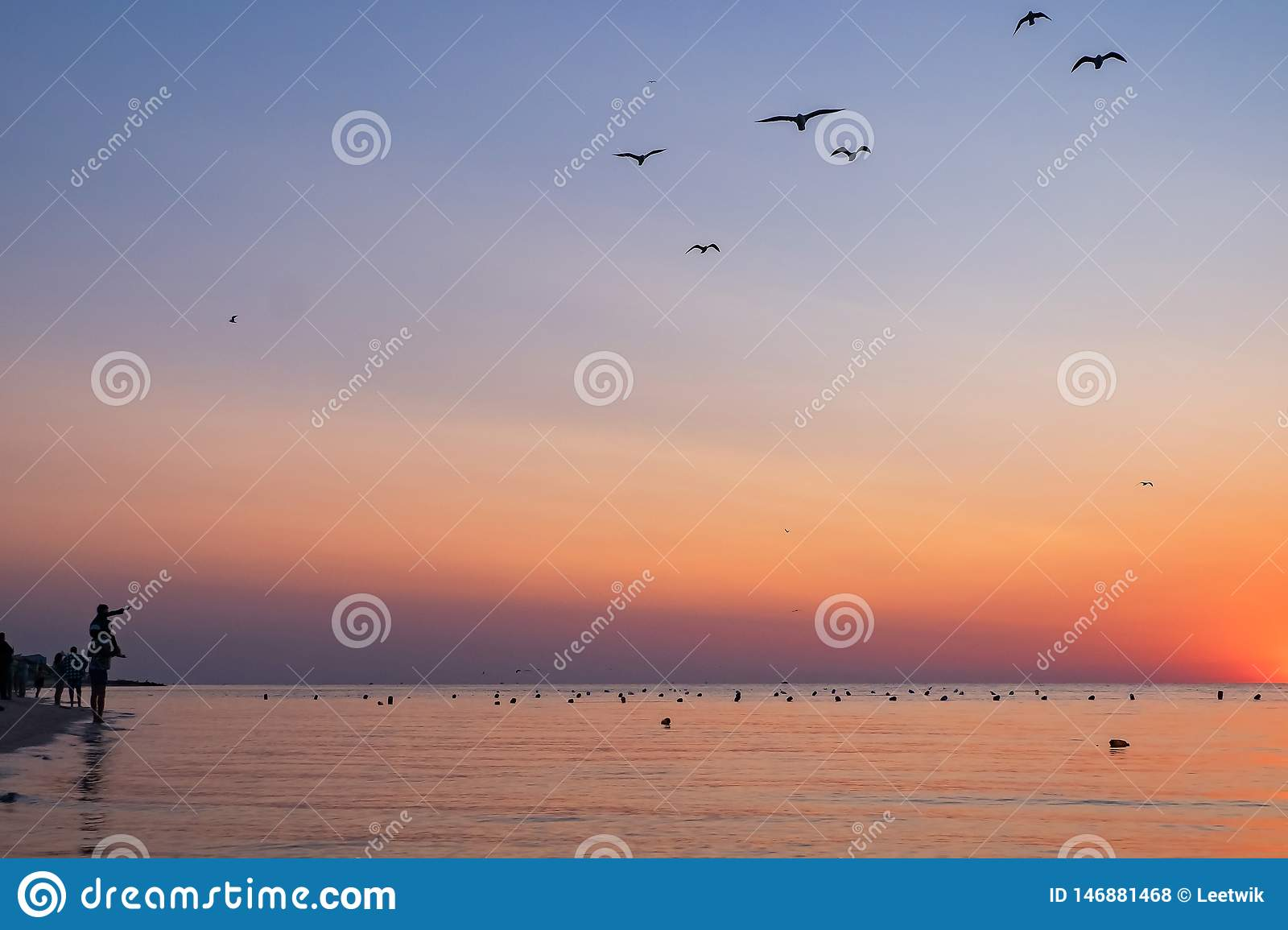People meet the colorful sunrise on the beach to the sea. silhouettes of people and seagulls. father holds a child on his