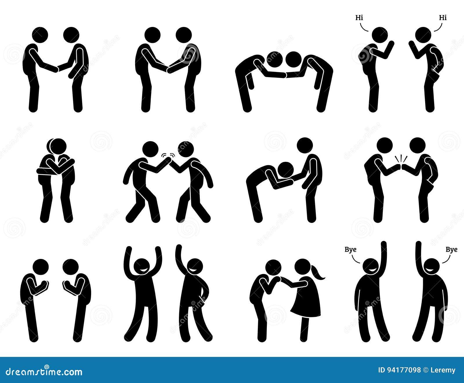 People Meeting And Greeting Gestures Etiquette Stock Vector