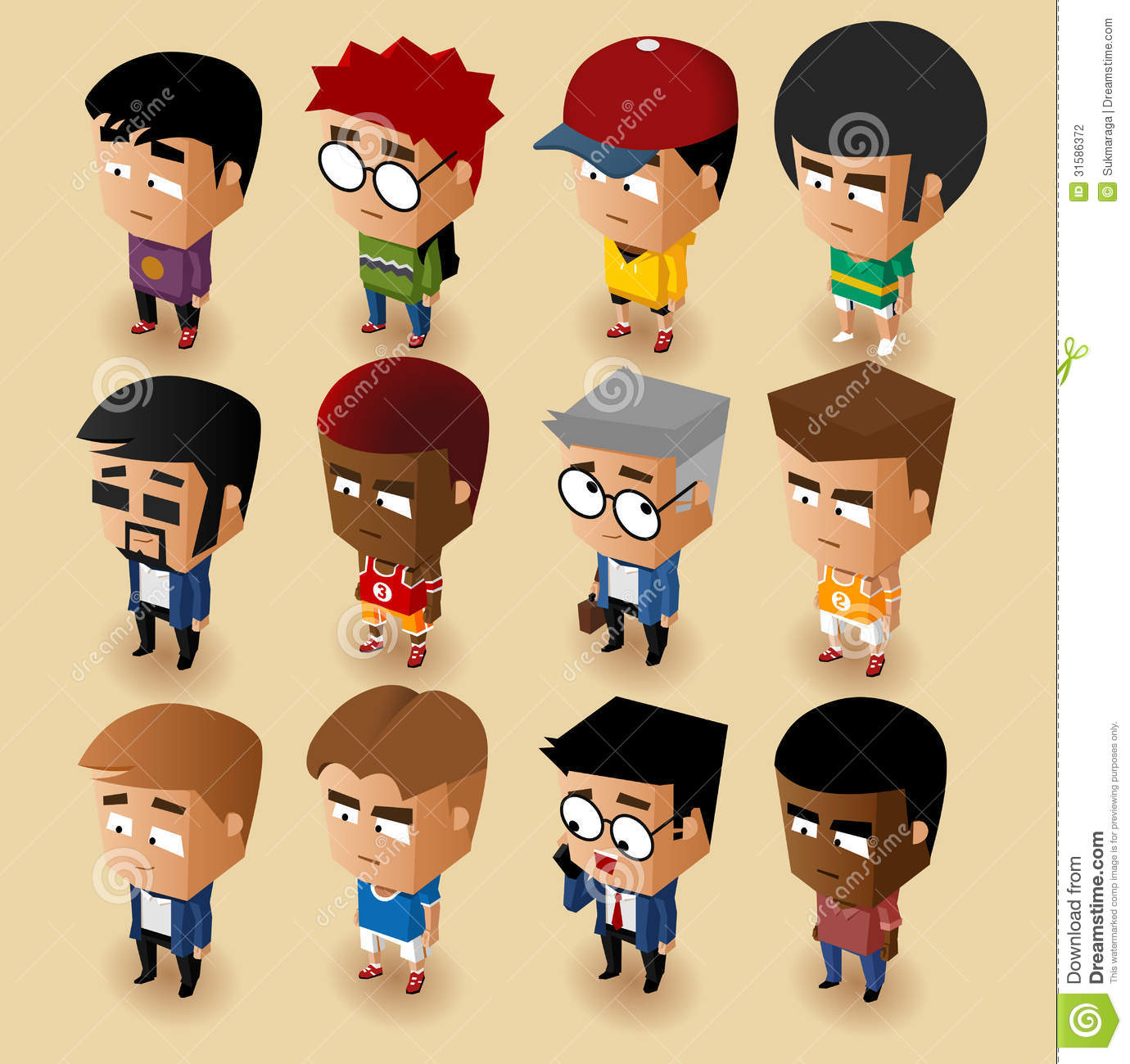 2d Character Design In Illustrator : People men isometric set stock illustration image of