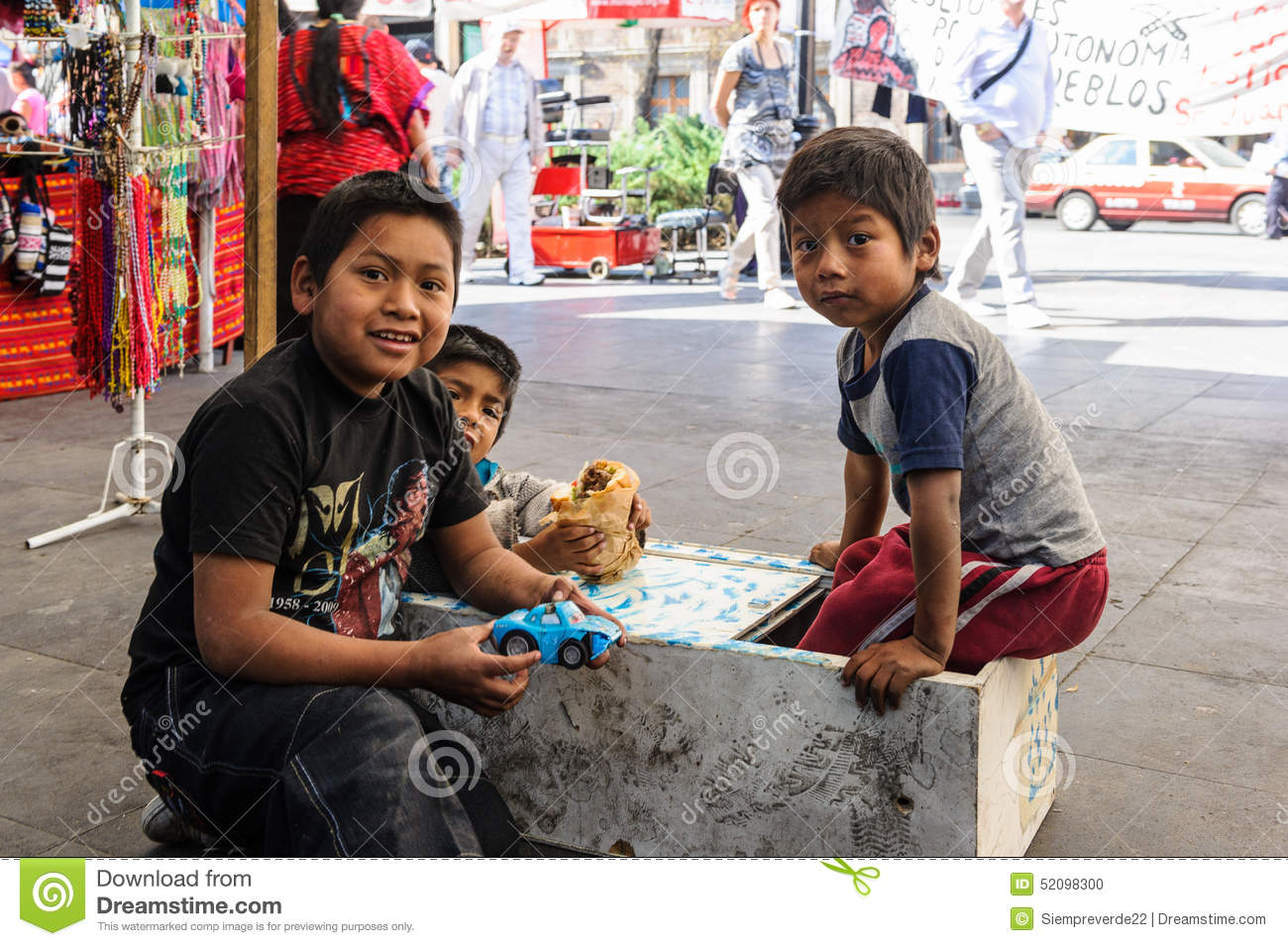 Mexico city mexico dec 29 2011 unidentified mexican children play in the street 60 of mexican people belong to the mestizo ethnic group