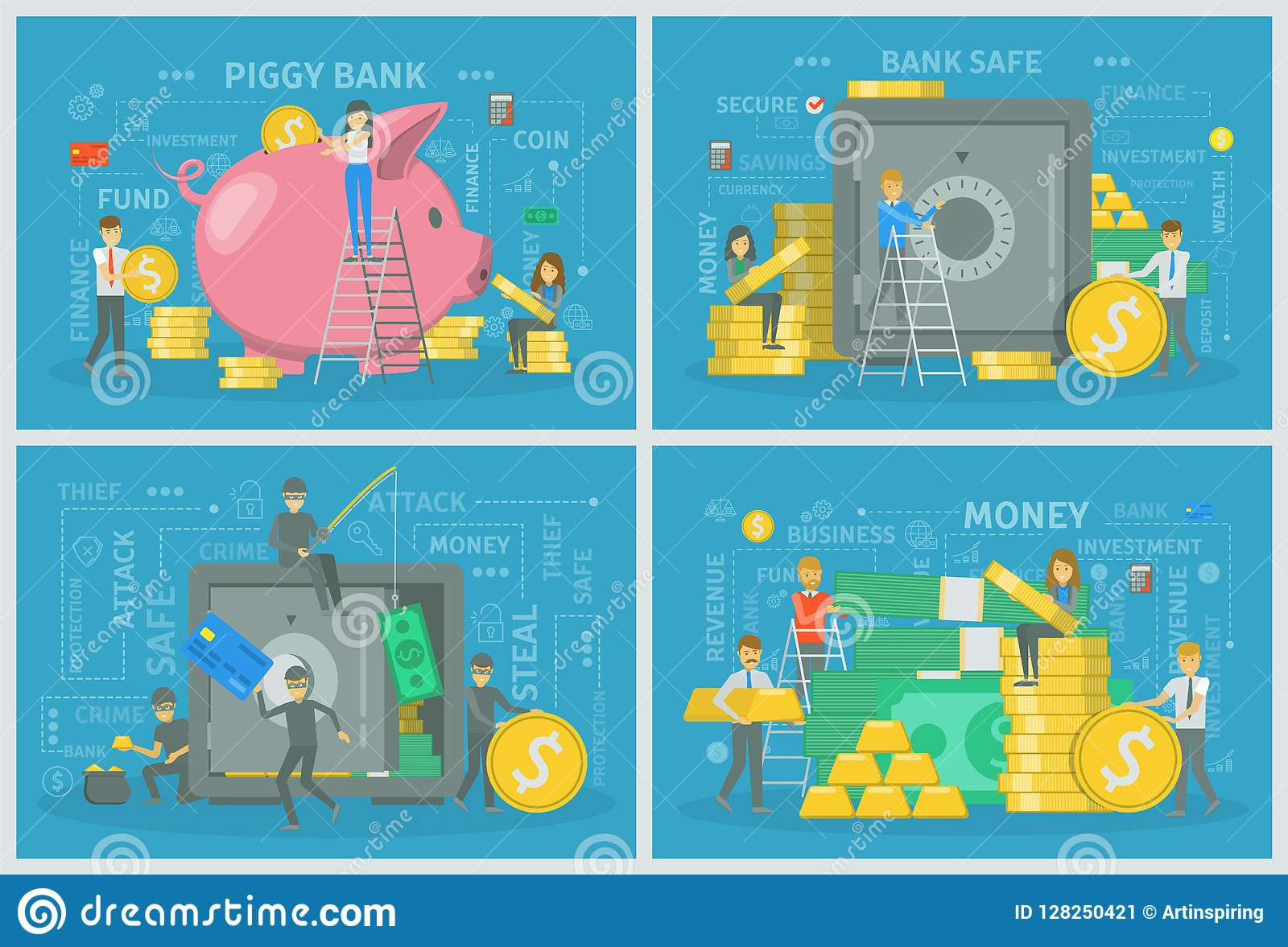 People With Money Making Financial Operation Set  Stock Vector