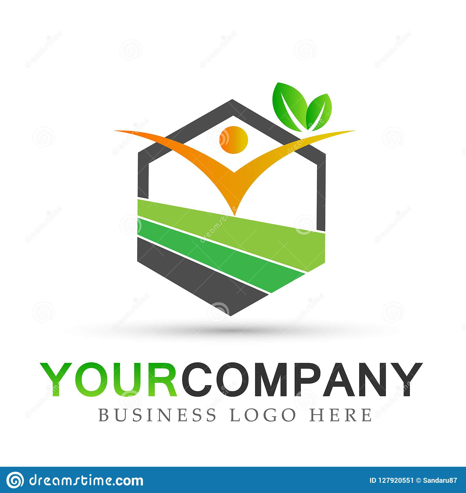 People nature real estate health care, nature Medical building icons symbol logo design on white background