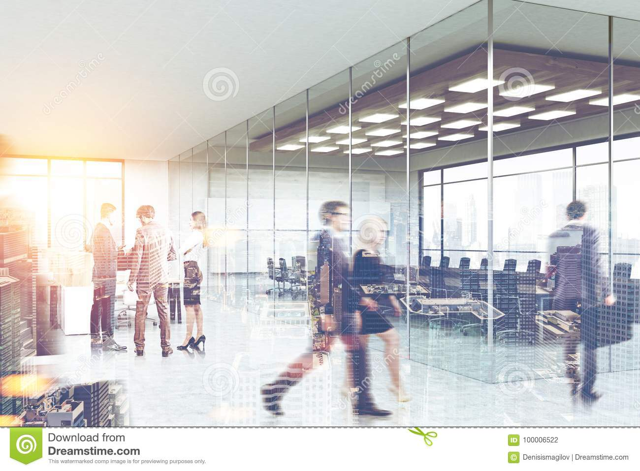 People near a meeting room, office lobby side view