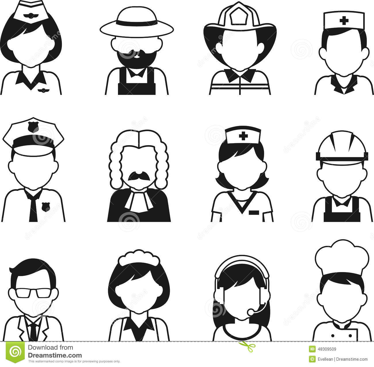 People Occupation Avatar Set In Thin Flat Style Stock ...