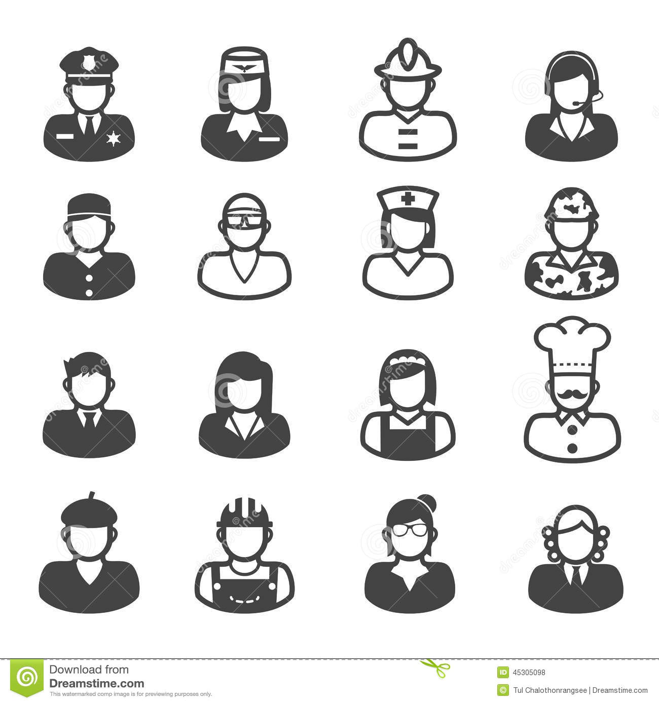 People Occupation Icons Stock Vector - Image: 45305098