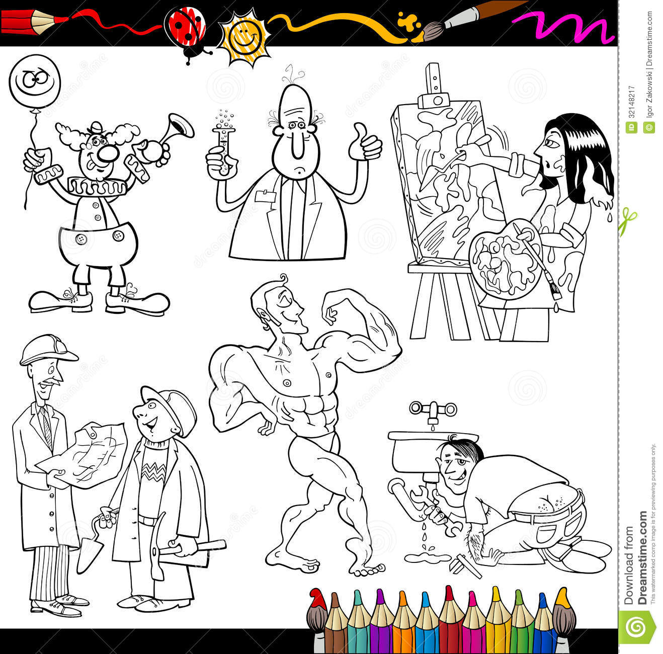 people set cartoon coloring page stock vector image 44796438