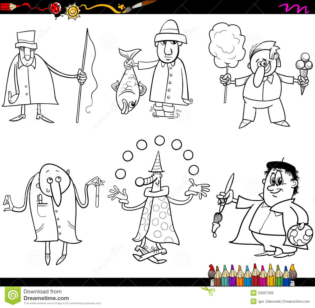 Book Cartoon Coloring Illustration Page