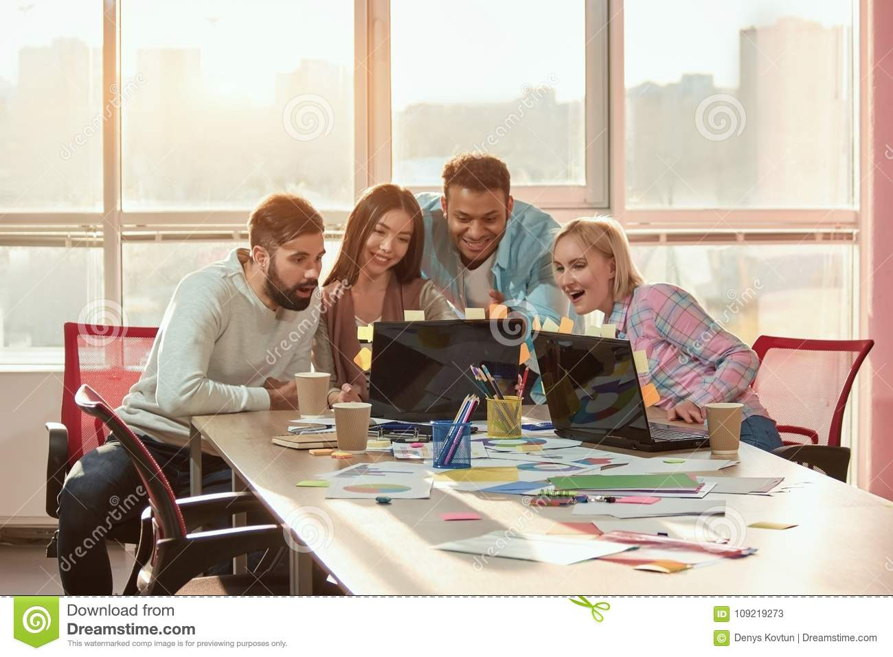 Image of: Screenshot People In Office Watching Funny Videos On Laptop Pinterest People In Office Watching Funny Videos On Laptop Stock Image
