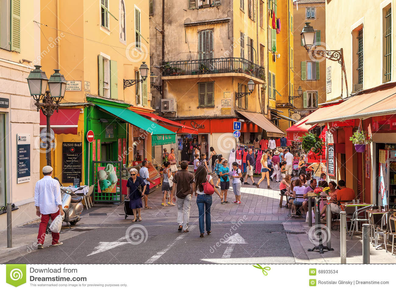 People in Old City of Nice, France.
