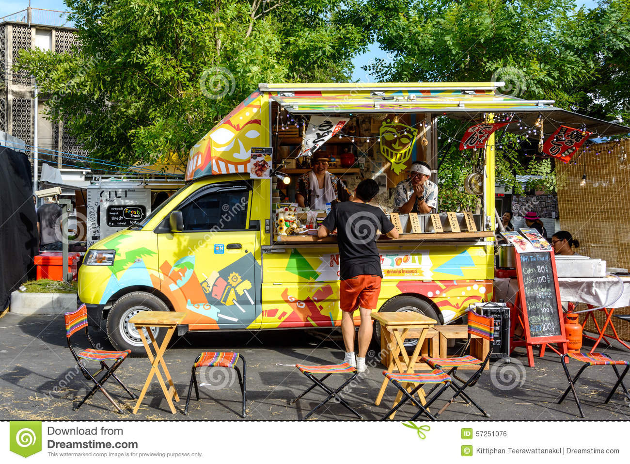 Editorial Photo: People order meal from food trucks at Food Truck Fair ...