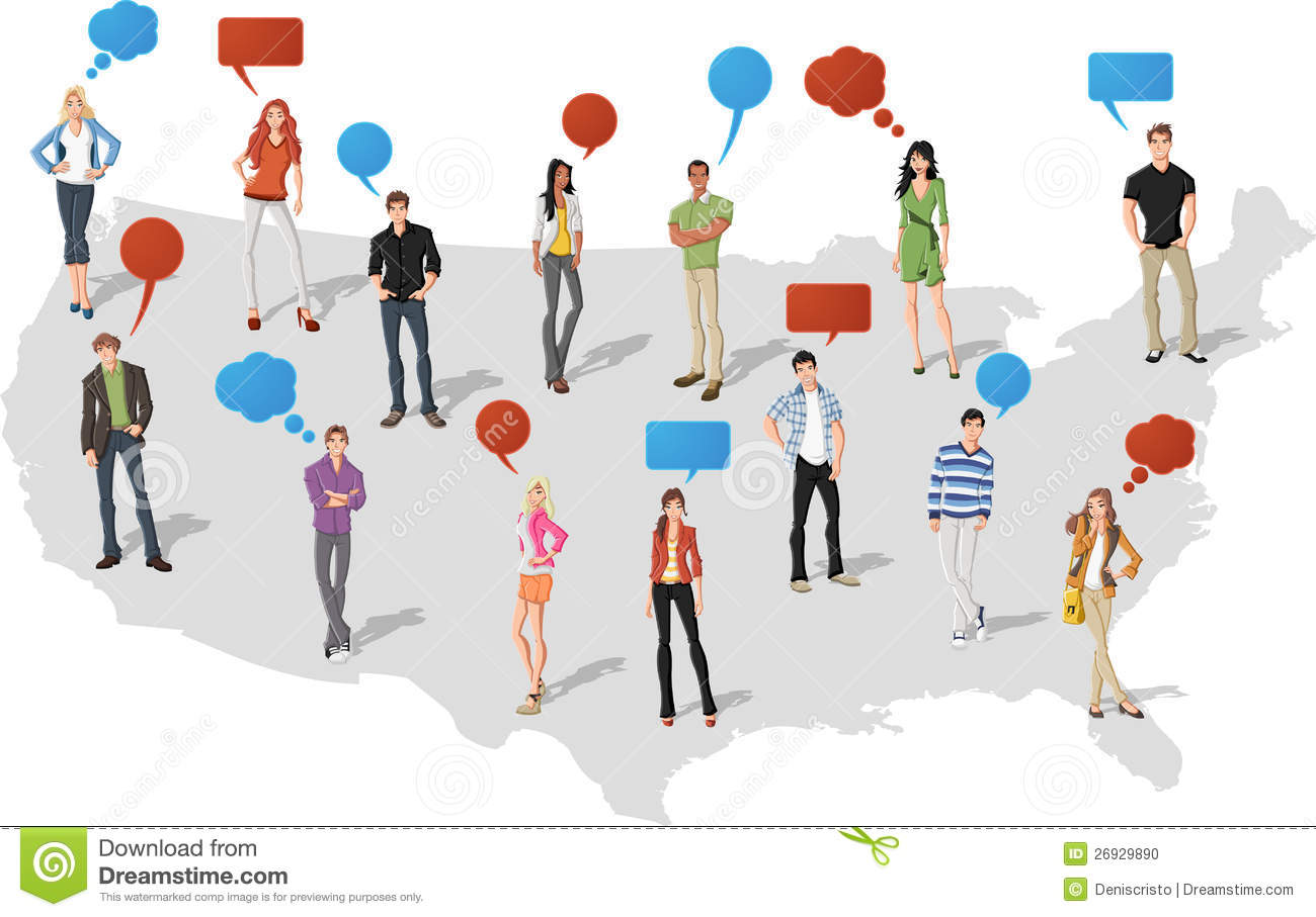 People Over United States Of America Map Stock Photo Image - Us map with people