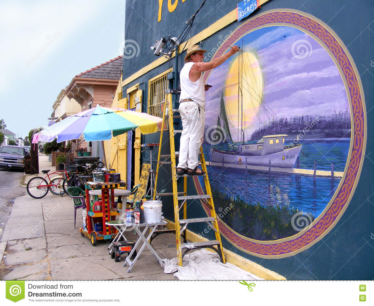 People Painter Painting Outdoor Wall Mural Editorial Image Image