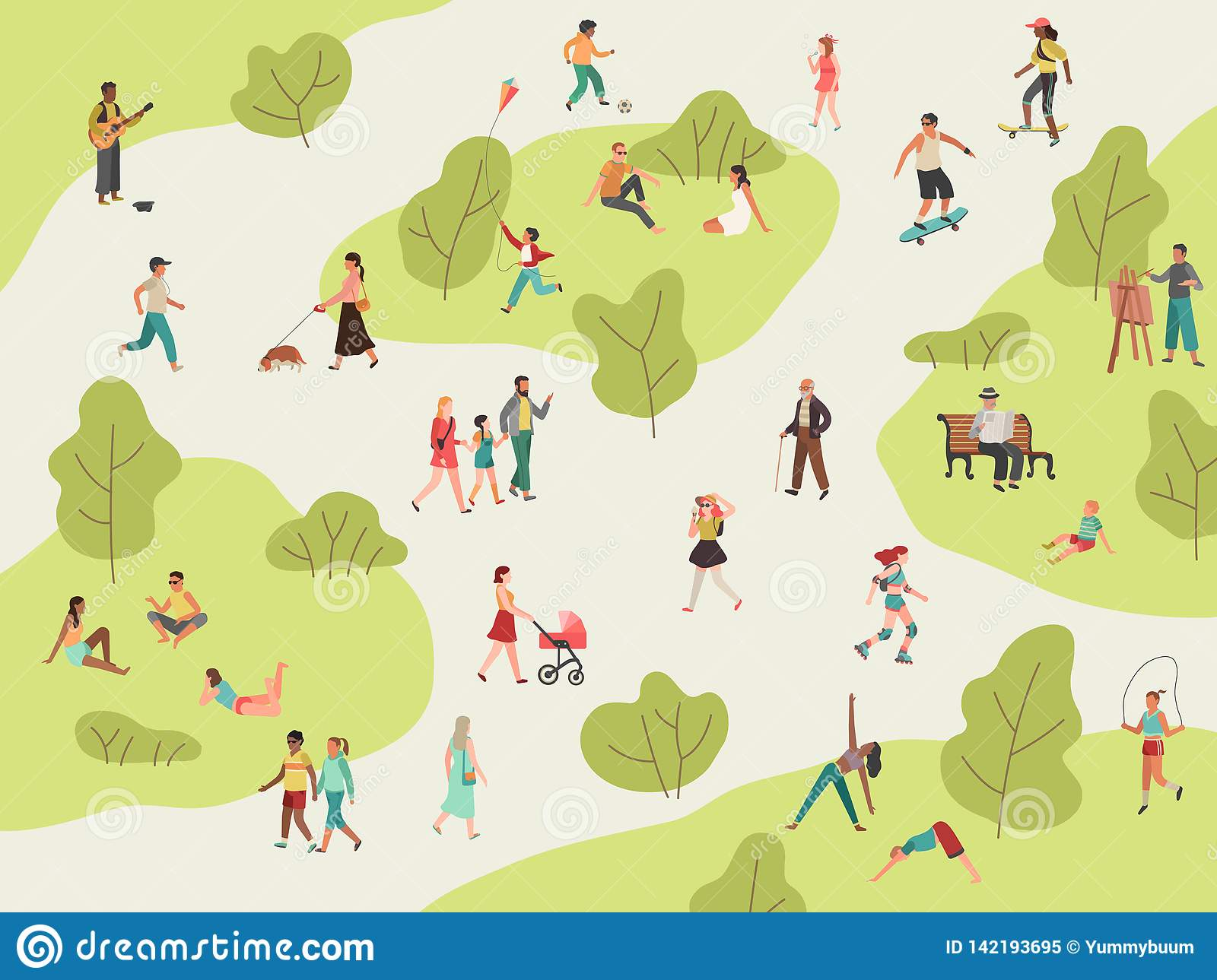 People park. Active walk outdoors woman man girl children picnic sport talking community character leisure lunch in park