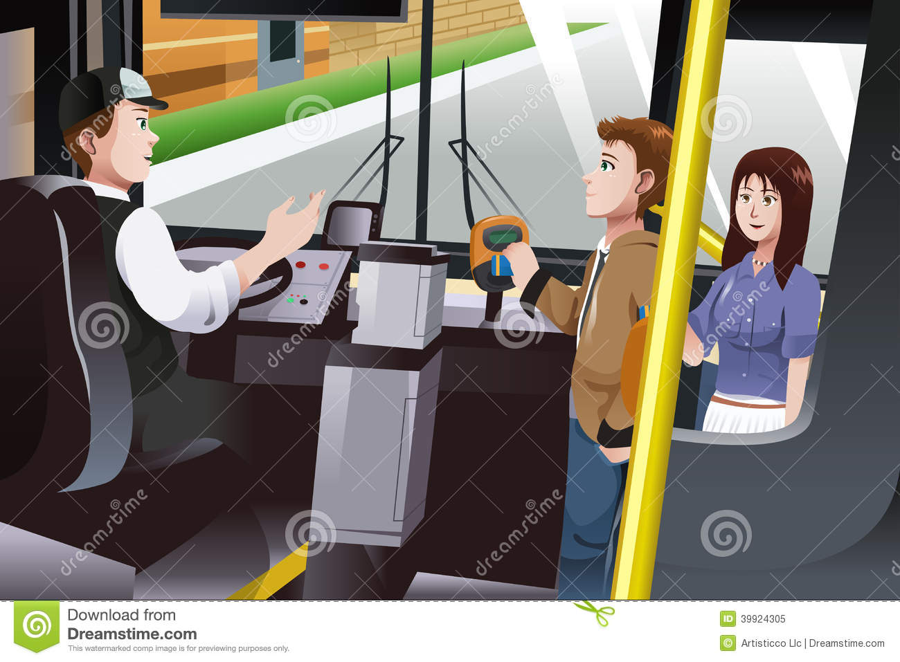 People Paying For Bus Fare Stock Vector - Image: 39924305