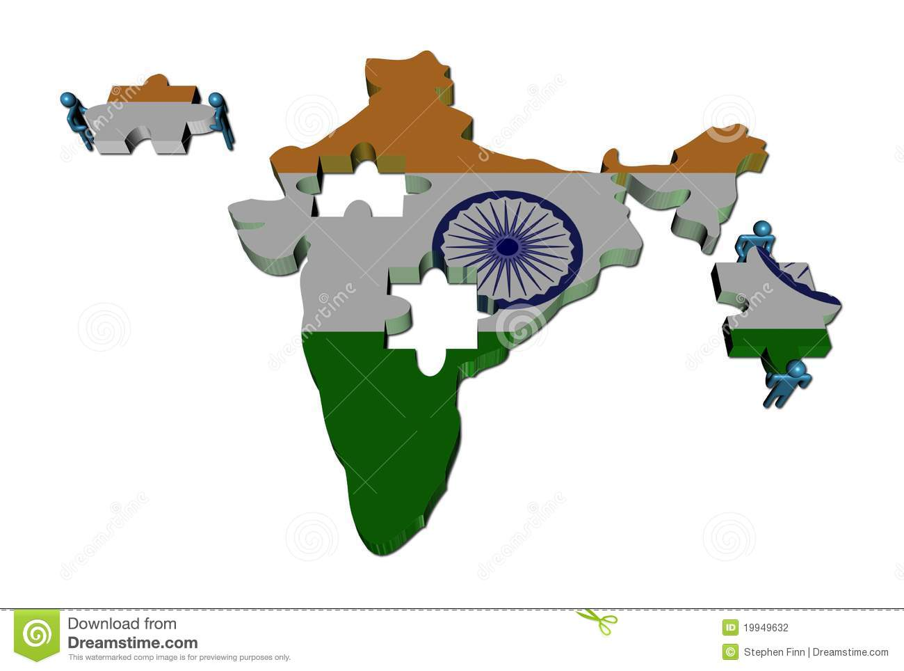 India Map Puzzle.People With Pieces And India Map Flag Stock Illustration