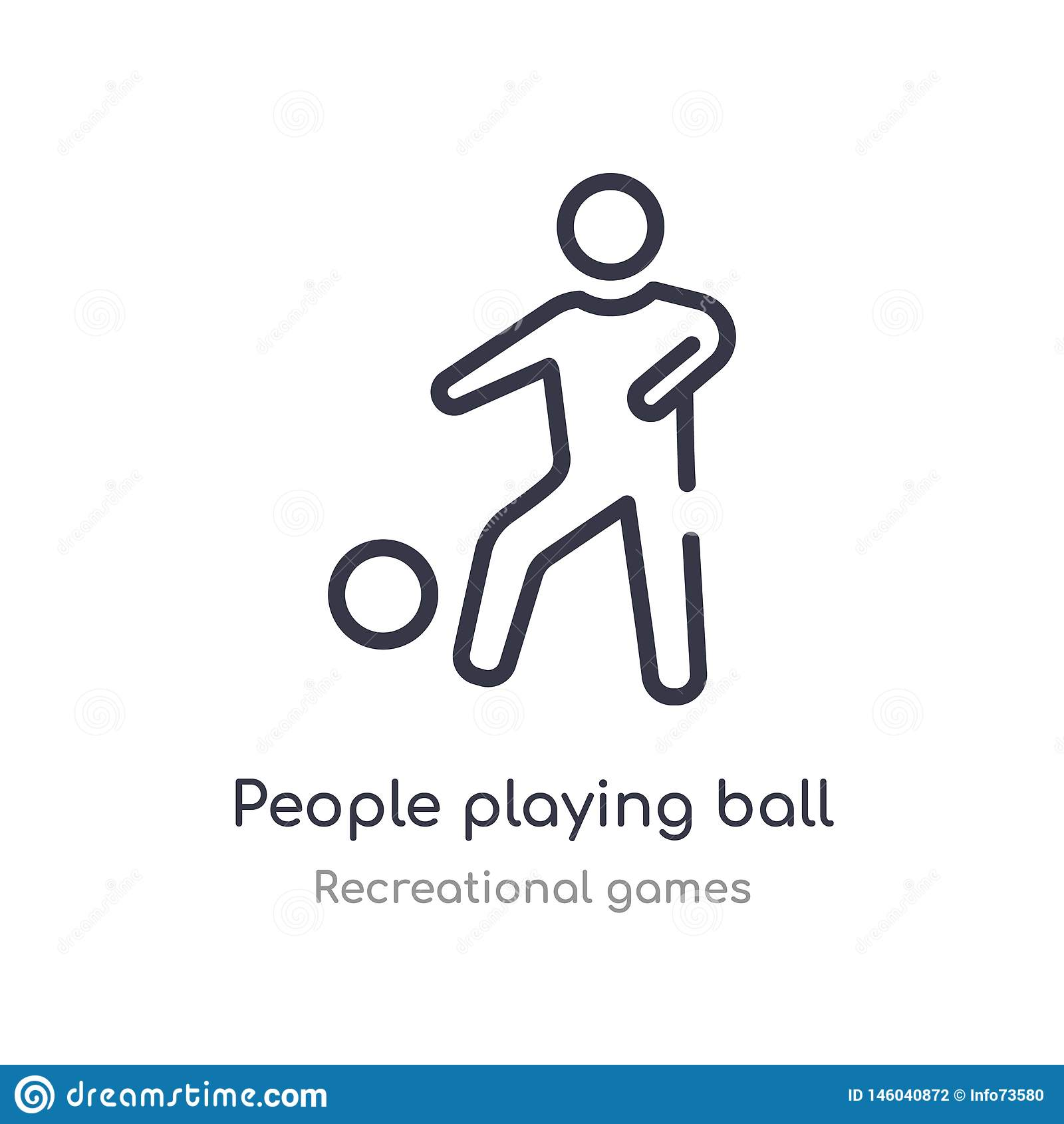 people playing ball outline icon. isolated line vector illustration from recreational games collection. editable thin stroke
