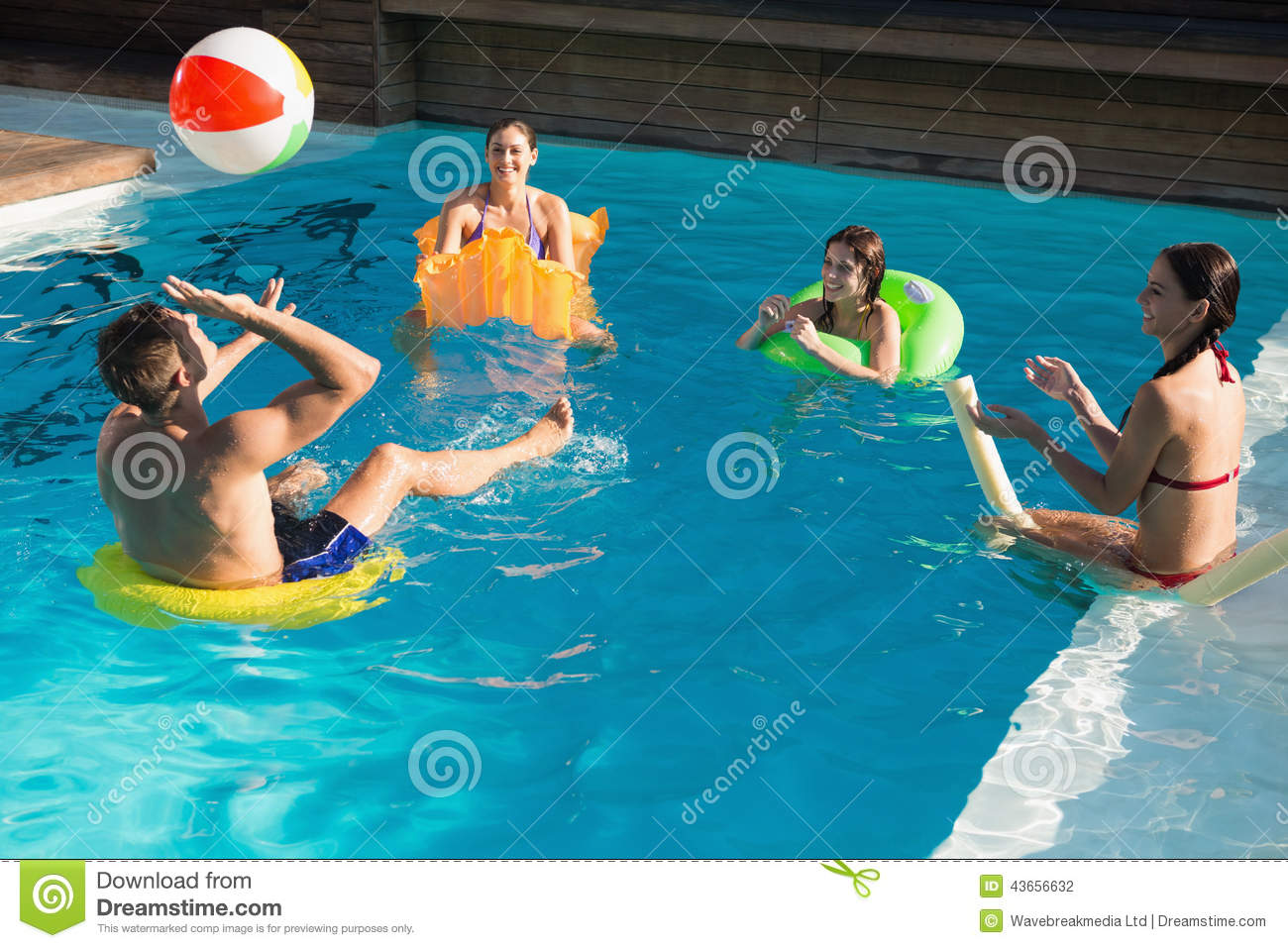 People Playing With Ball In Swimming Pool Stock Photo Image Of Summert View 43656632