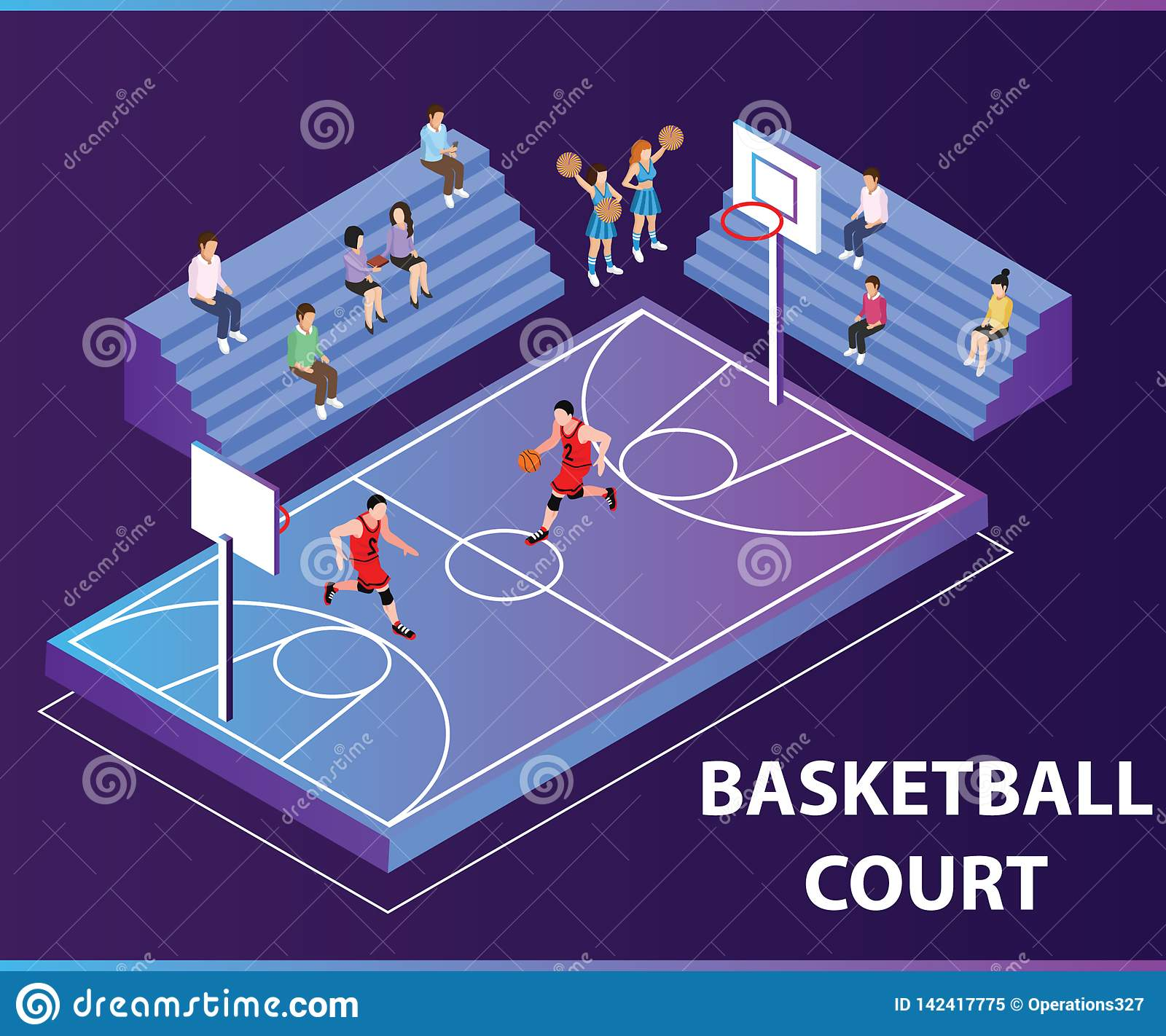 People Playing Basket Ball Game Isometric artwork concept