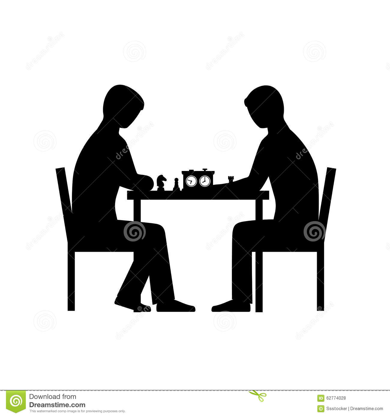 people playing chess vector silhouettes stock vector