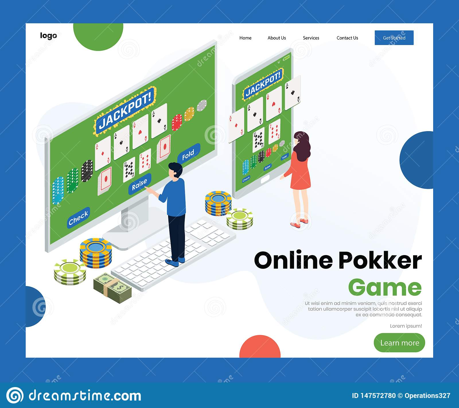 People playing Online Poker Game Isometric Artwork Concept