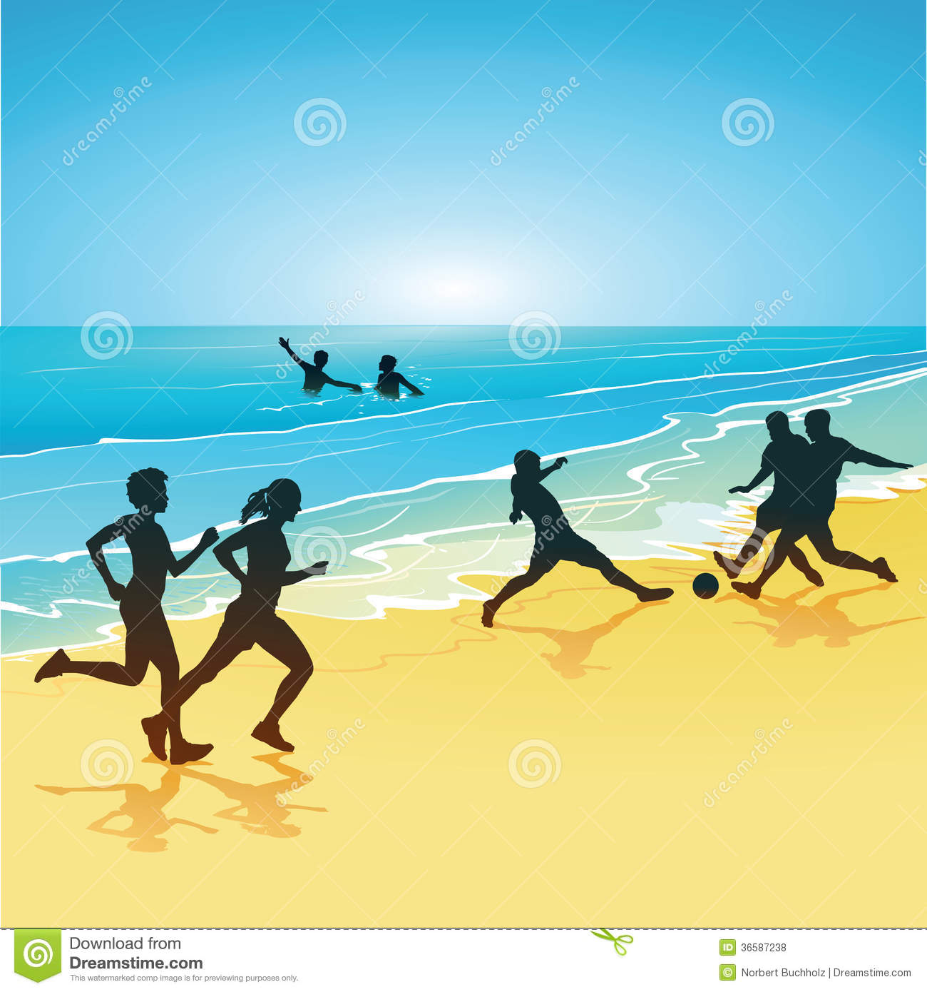 People Playing Sports On A Beach