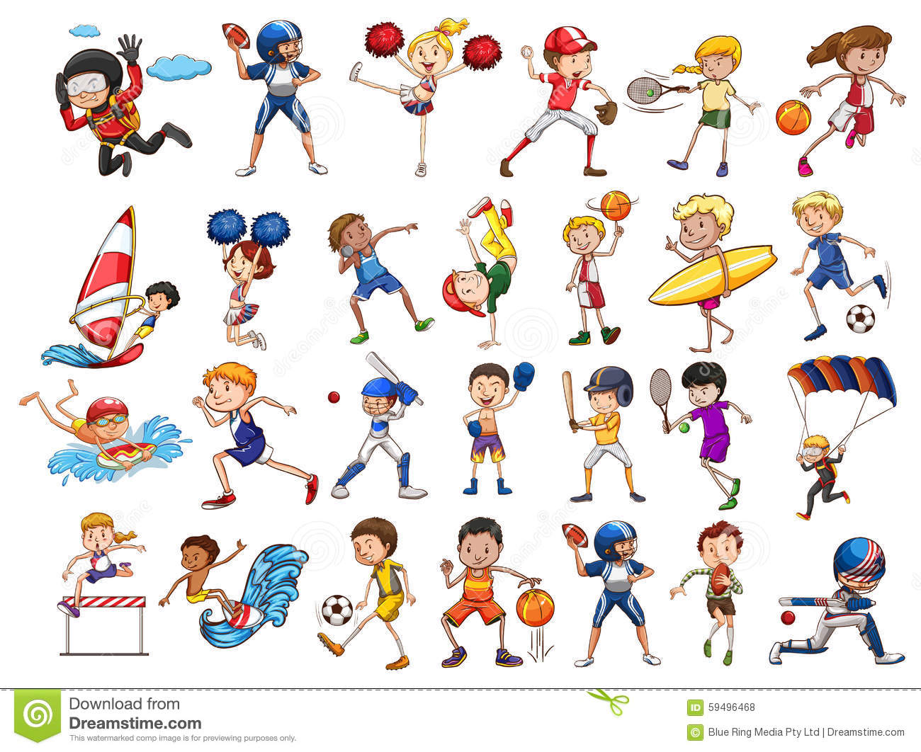 sports different illustration practicing