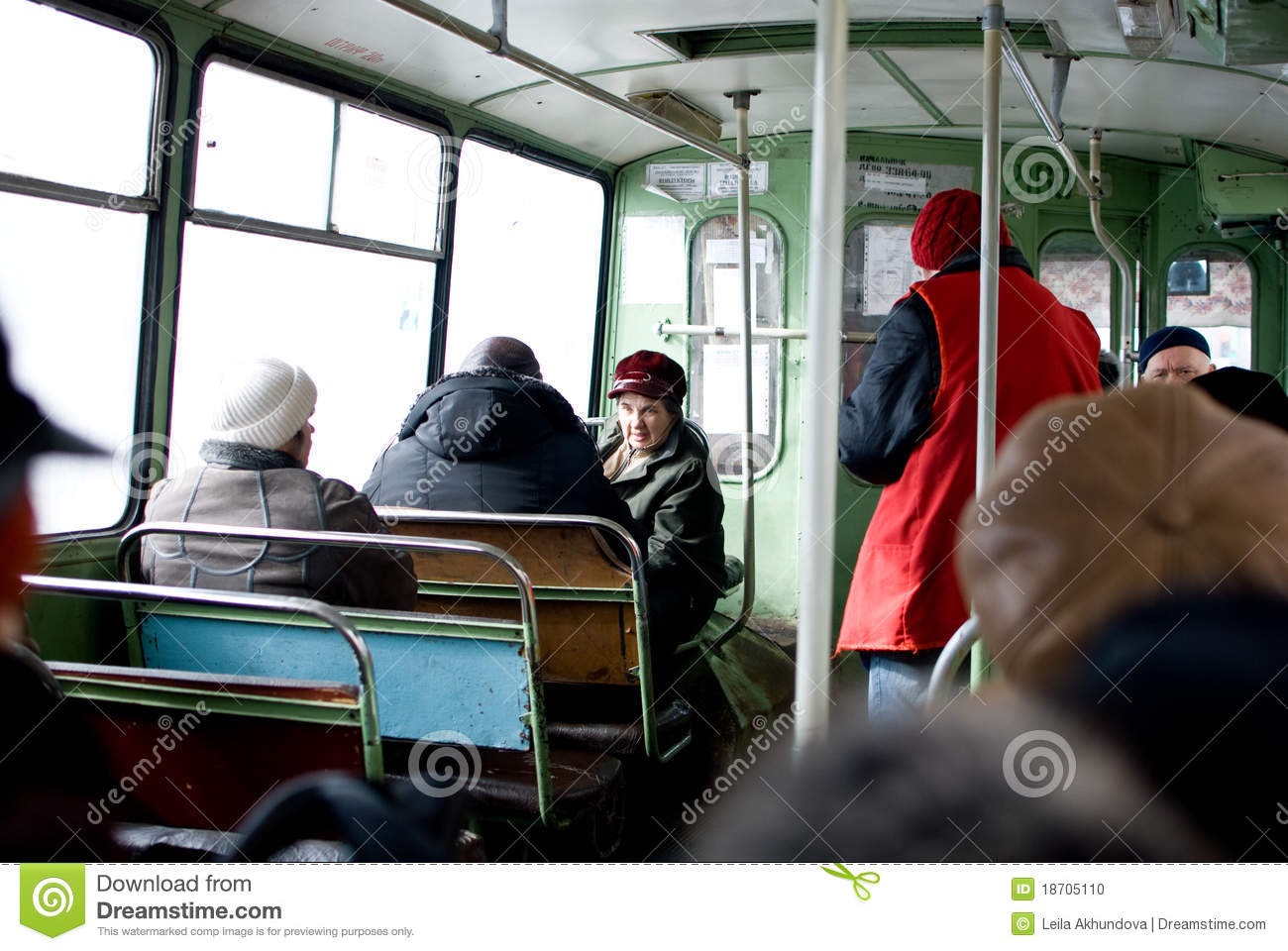 people in public transport editorial image