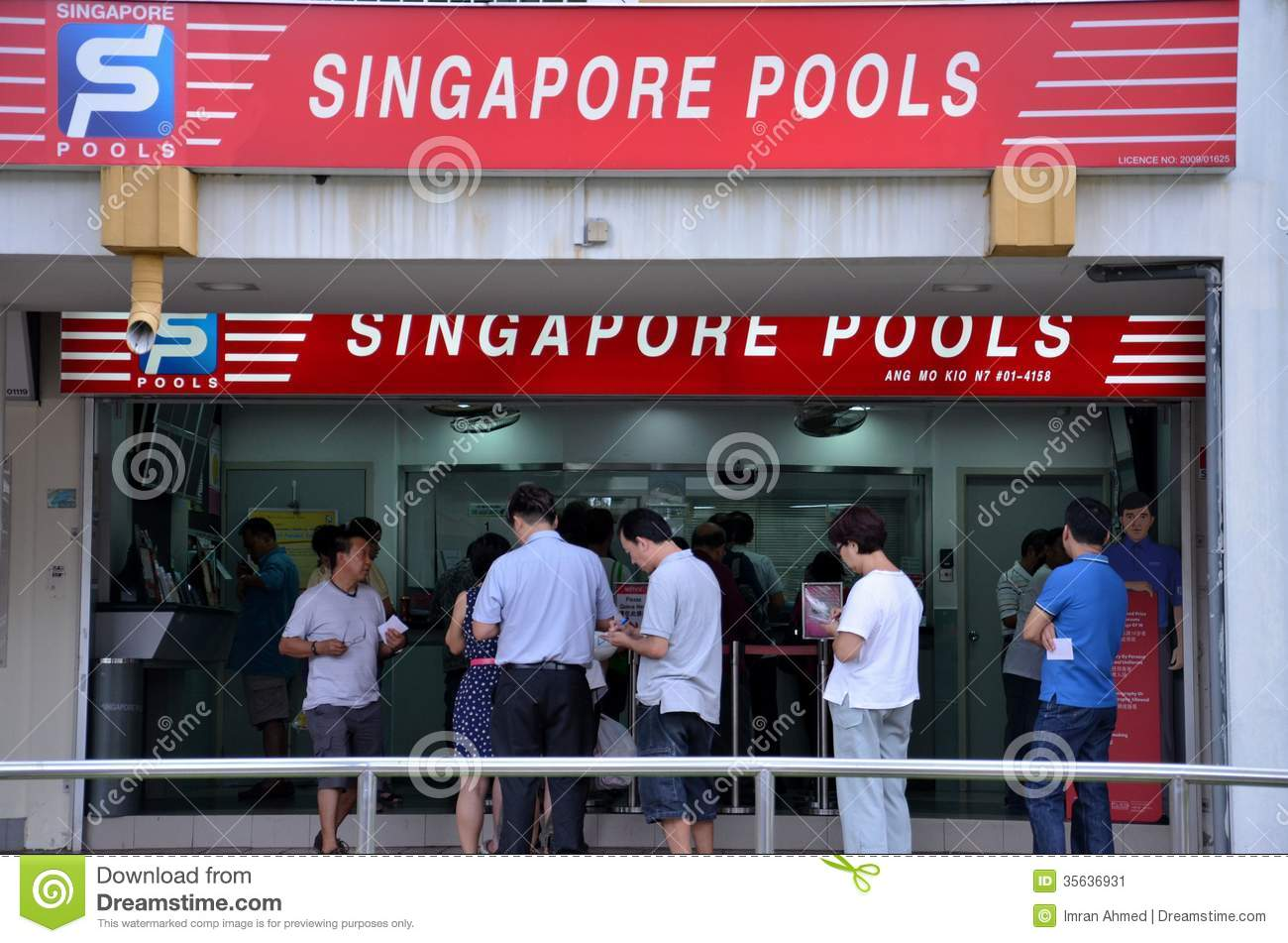 People Queue Outside Singapore Pools Betting Shop Editorial