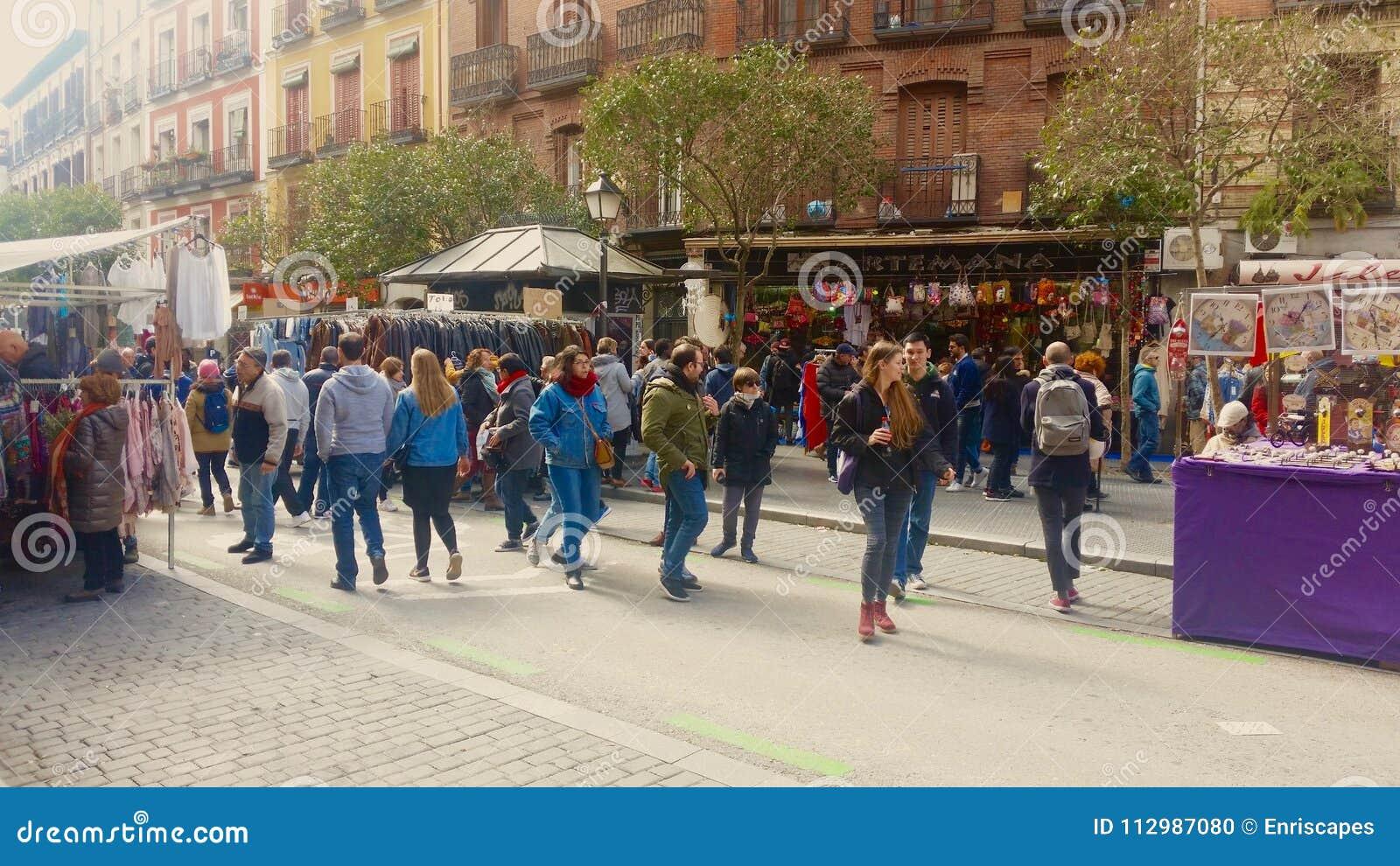 People in Rastro market of Madrid