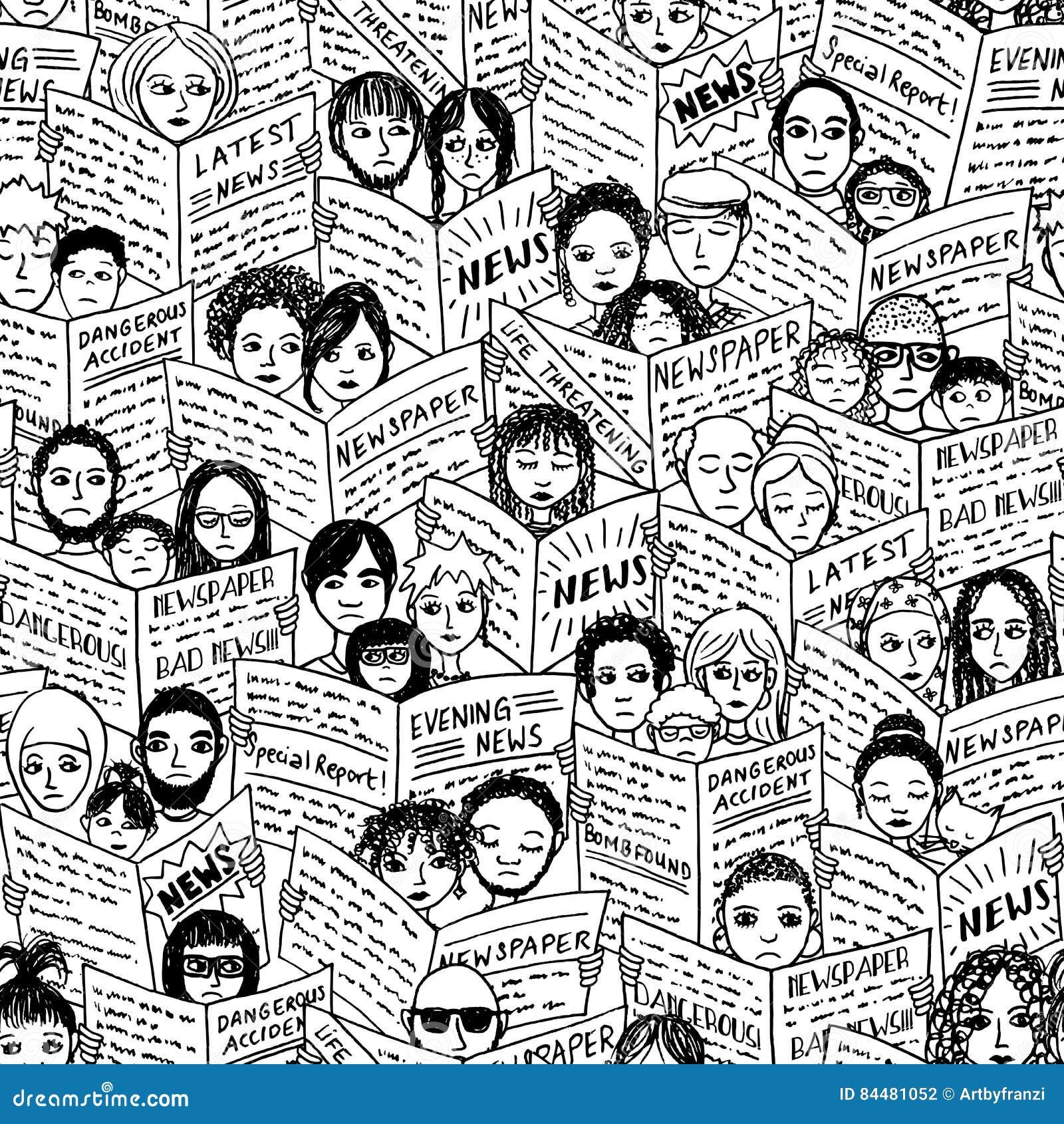 people reading newspaper stock vector. illustration of black - 84481052