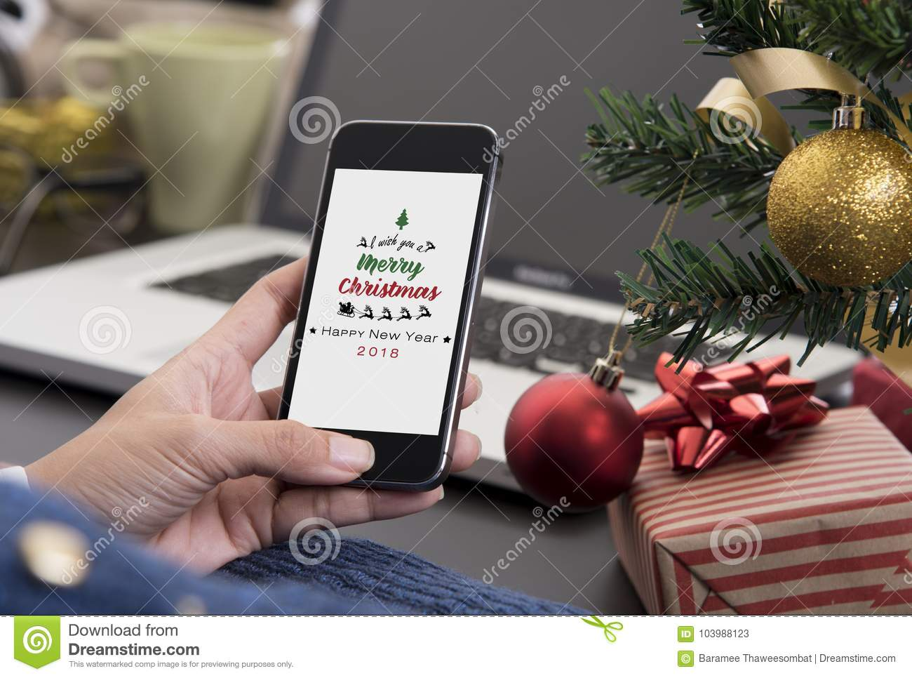 People Received Greeting Text Massage Merry Christmas Stock Image ...