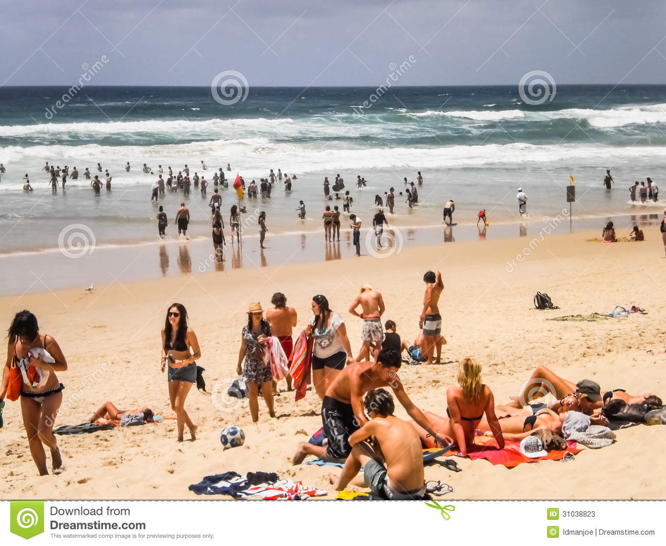 People Relaxing At Surfer Paradise Beach Gold Coast