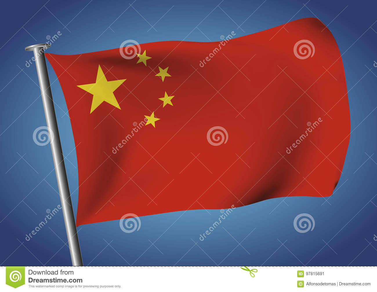 People Republic Of China Flag Waving On The Sky Vector Stock