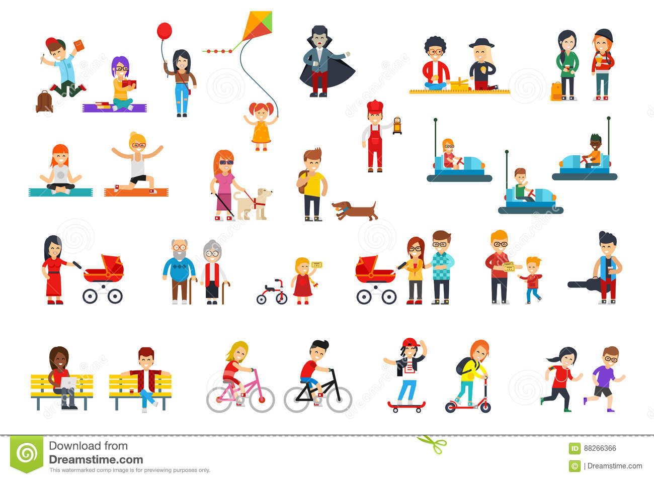 People rest in the park vector flat design isolated on white background for infographic creation