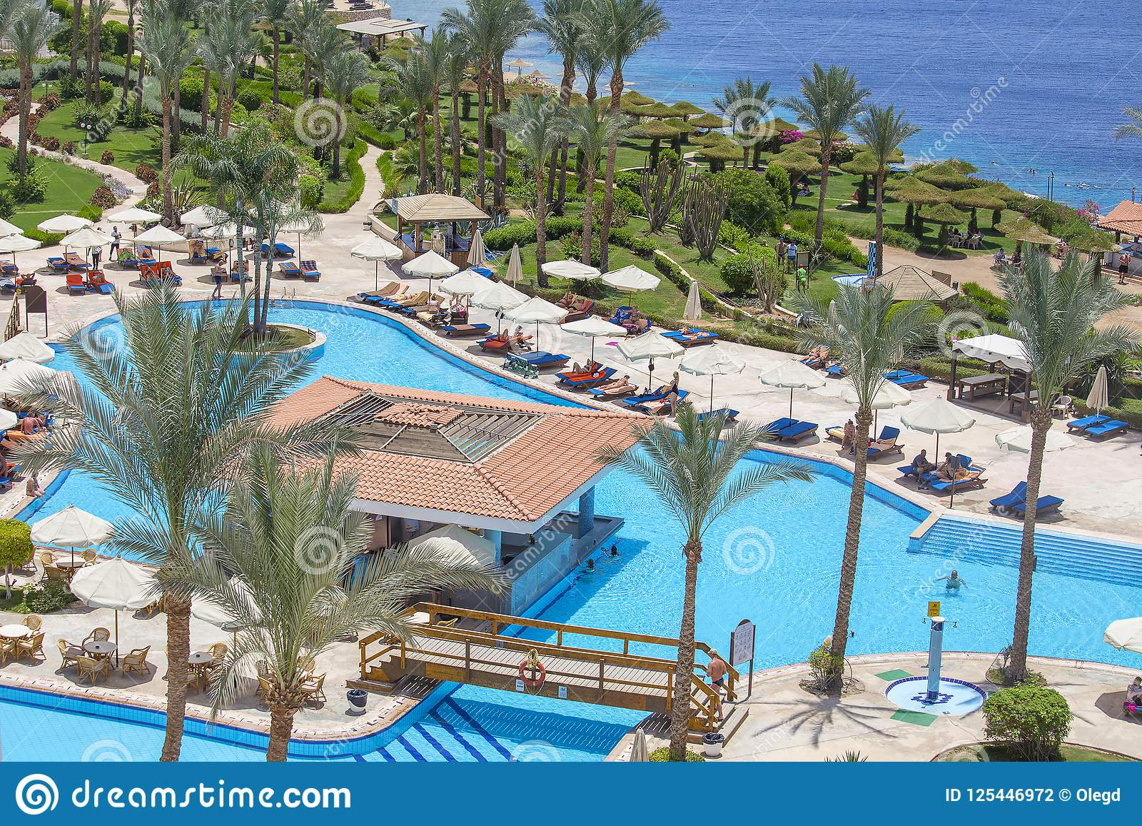 People rest in swimming pool near red sea in hotel, Sharm El Sheikh, Egypt