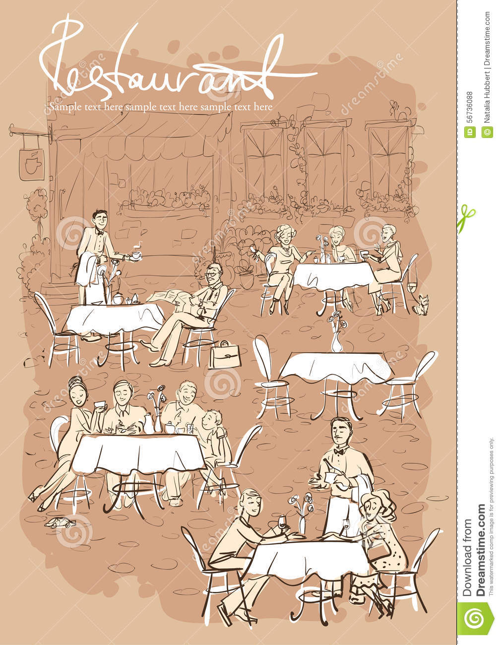 Restaurant Background With People people at restaurant, outdoor cafe - hand drawn vertical