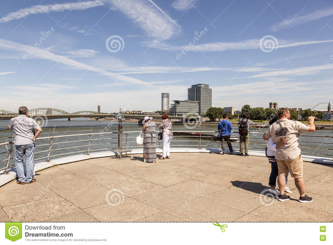 People at the Rhine River in Cologne, Germany