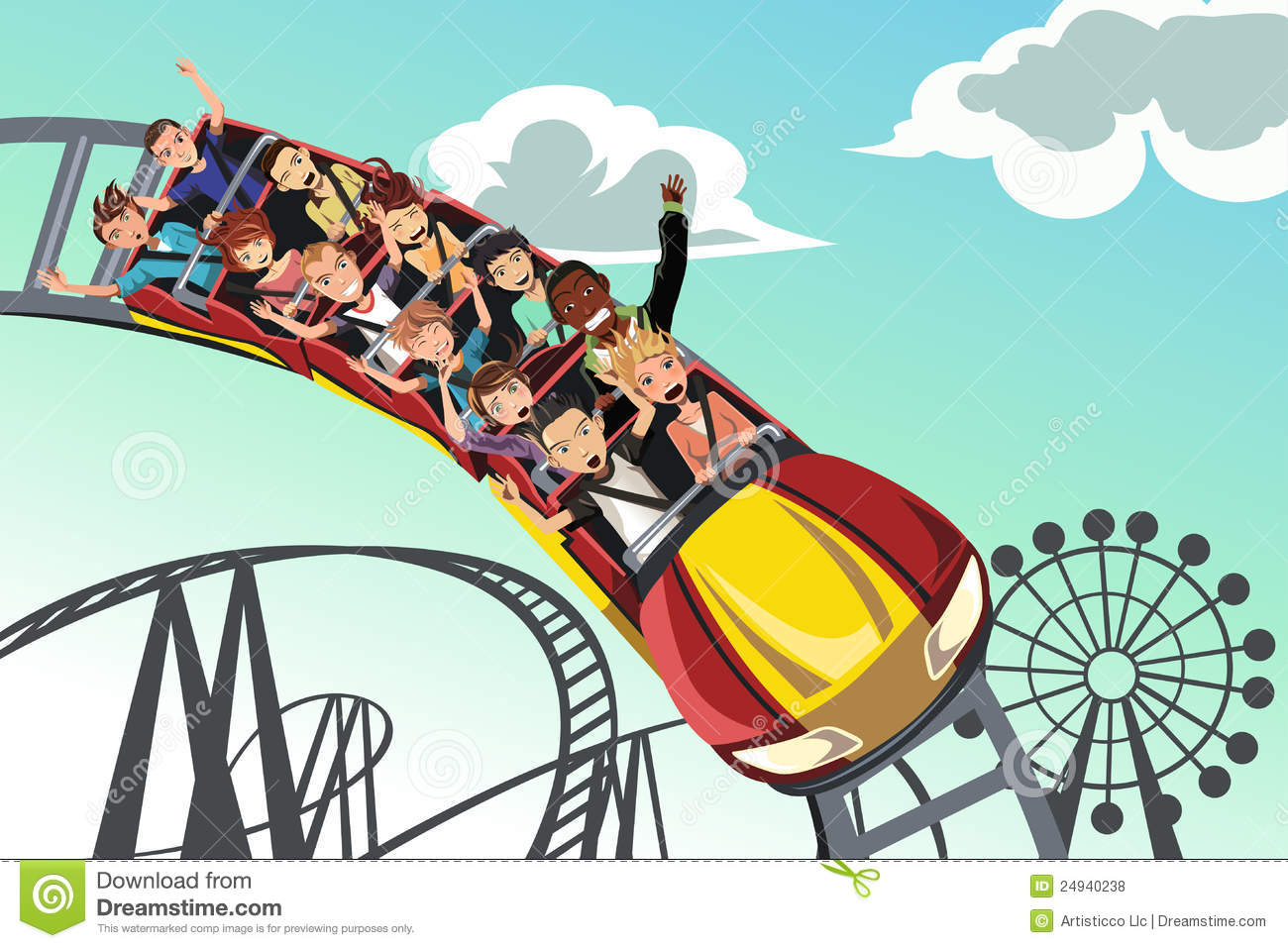... illustration of people riding roller coaster in an amusement park