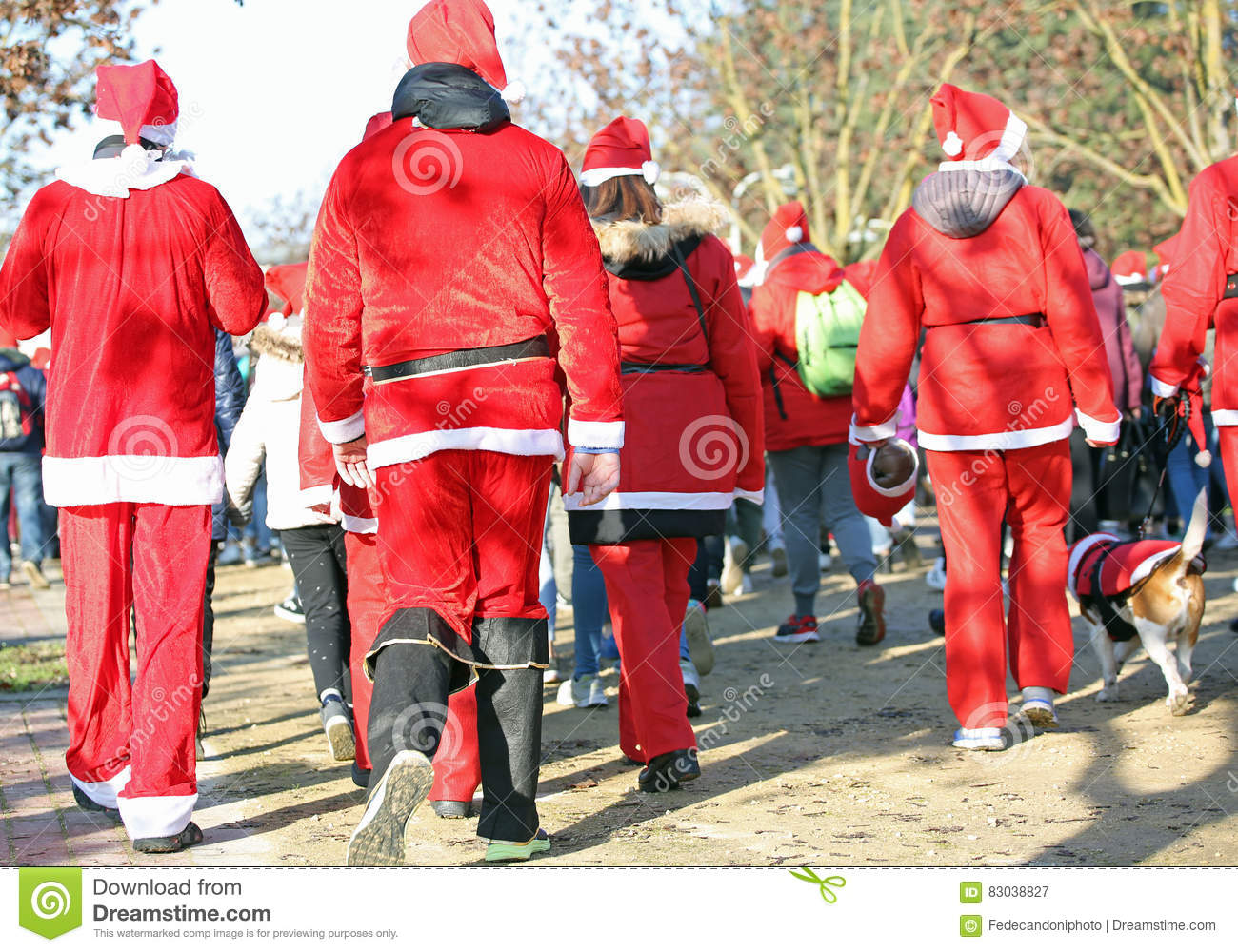 Christmas Run Park.People Run In The Public Park Of The City At Christmas