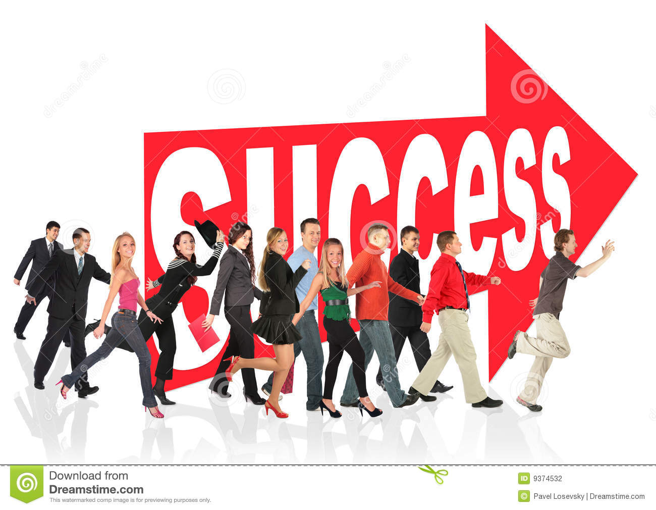 People run to success following the arrow sign