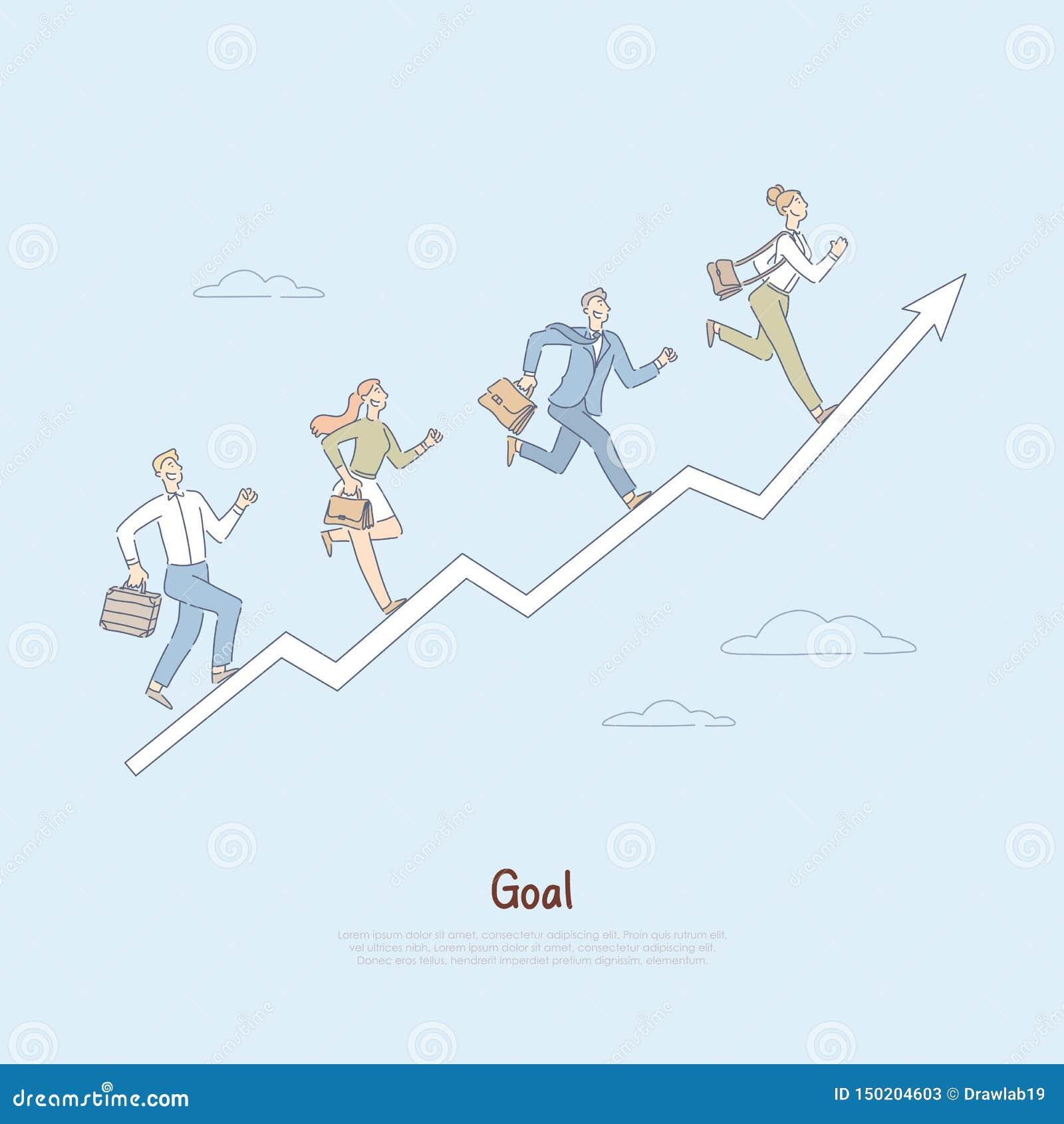 People Running Up Progress Arrow Journey Towards Achieving Success Teamwork In Workplace Self Improvement Metaphor Stock Vector Illustration Of Development Ladder 150204603