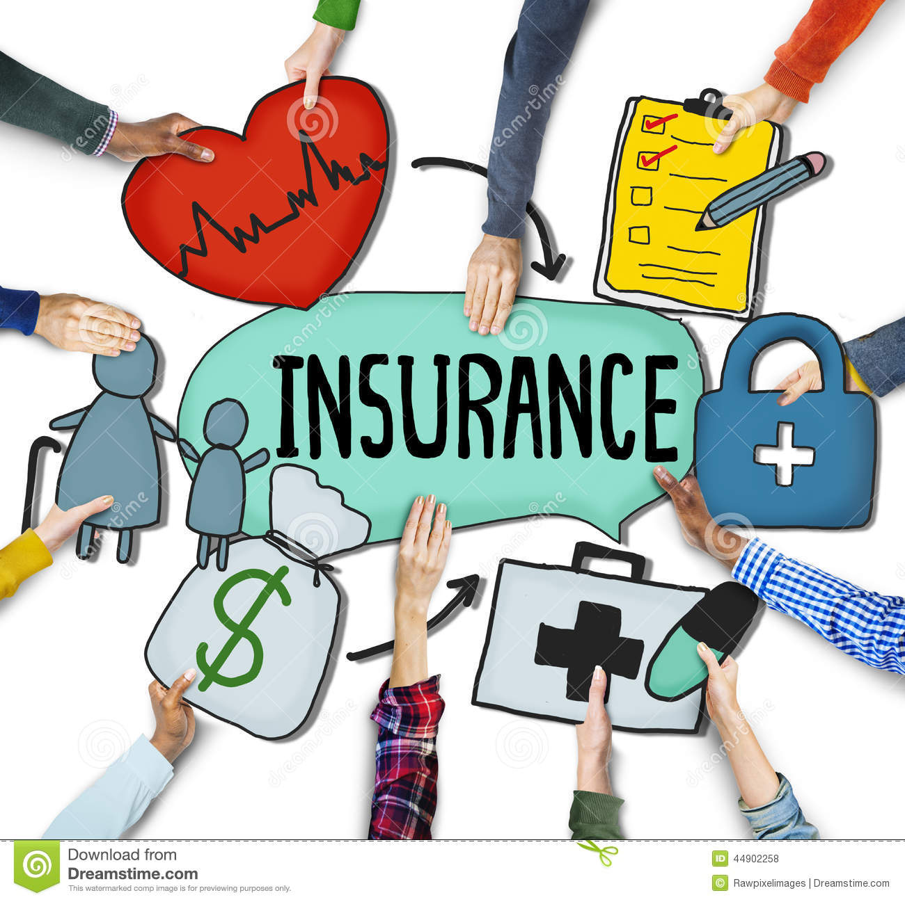 People's Hands Holding Insurance Text And Symbols Stock ...