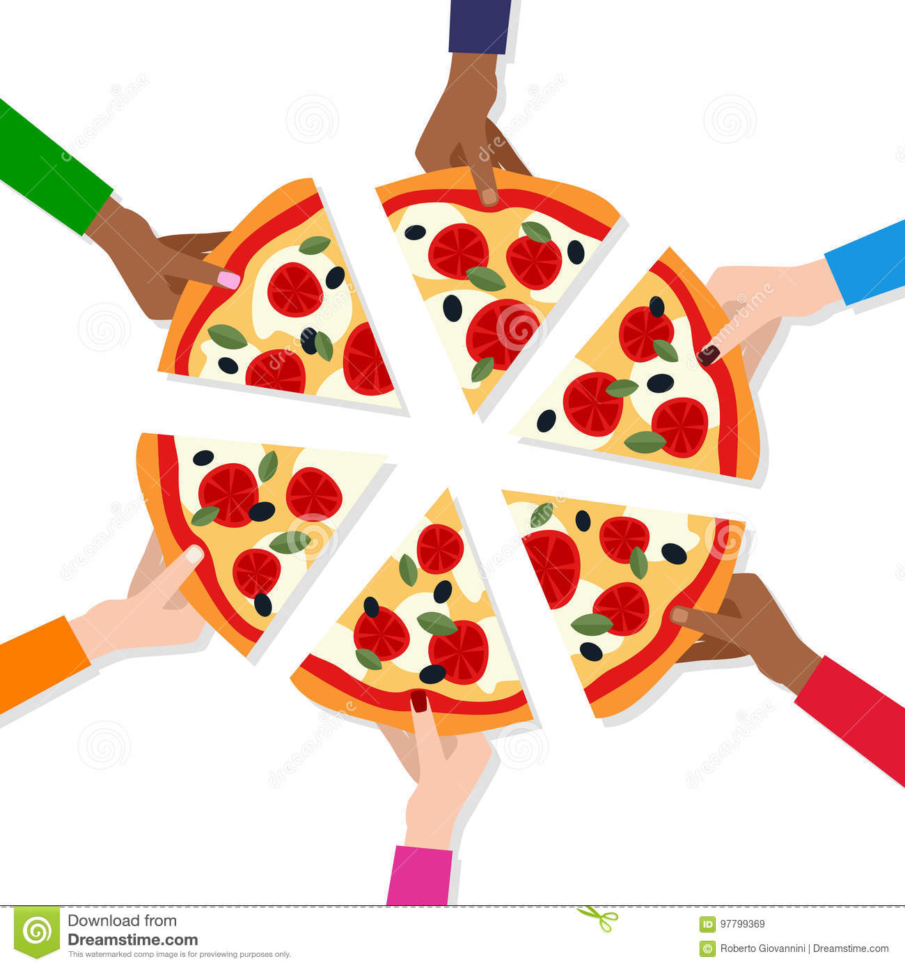People`s Hands Taking Slices of Pizza