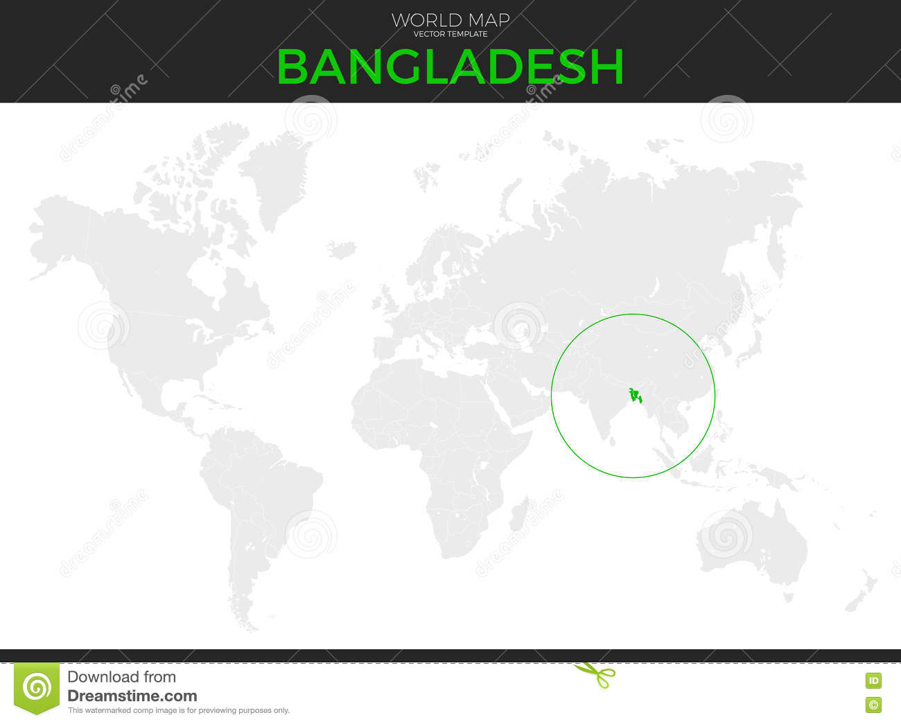 Peoples Republic Of Bangladesh Location Map Stock Vector