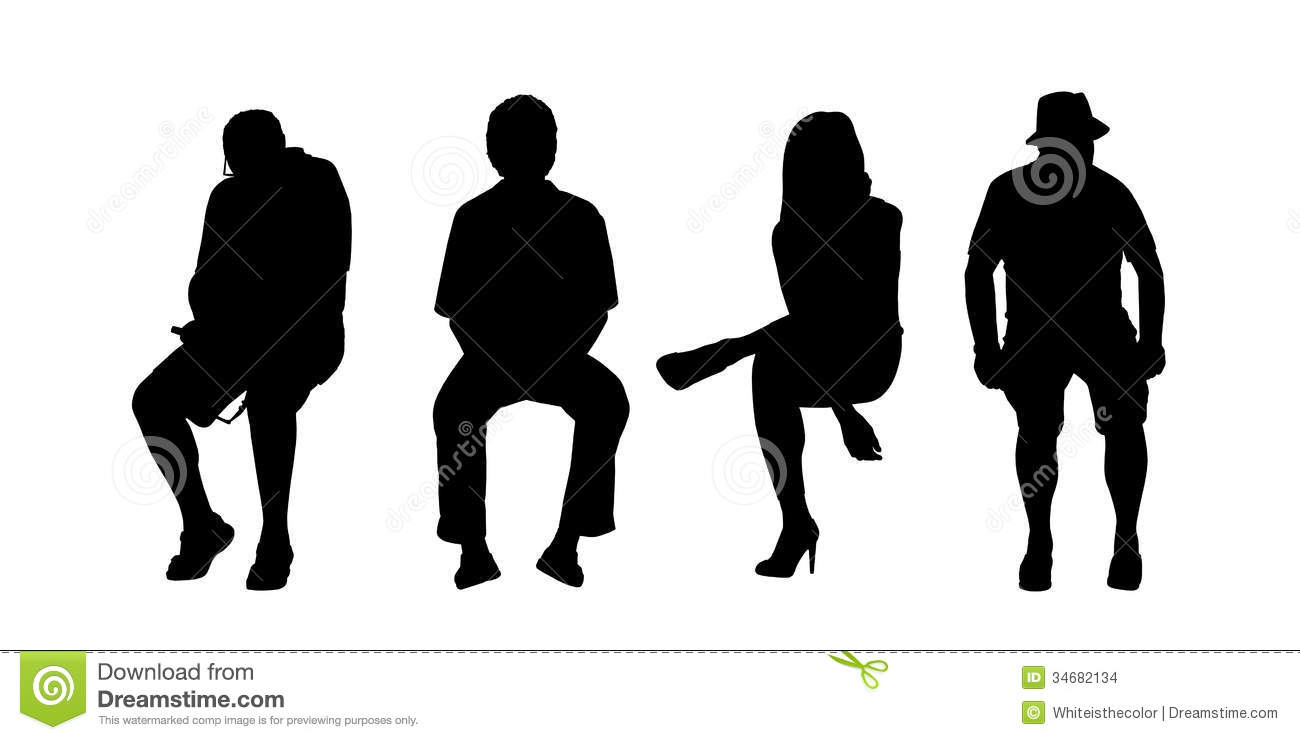 People Seated Outdoor Silhouettes Set 6 Stock Illustration ... for People On Bench Silhouette  117dqh