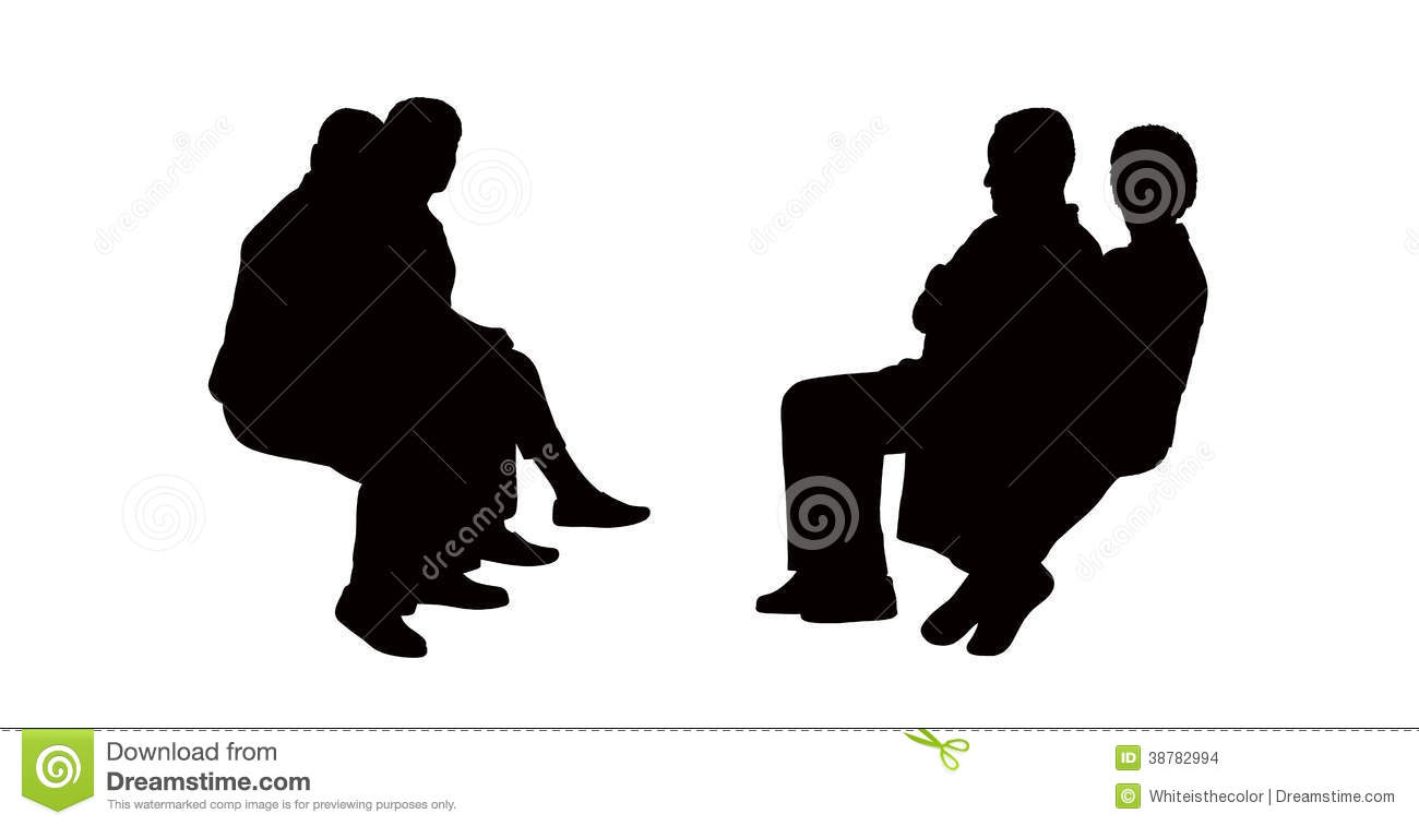 People Seated Outdoor Silhouettes Set 11 Stock