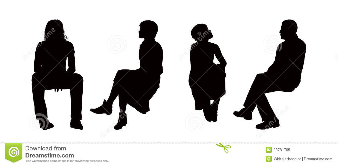Black silhouettes of young men and women seated outdoor in different ...