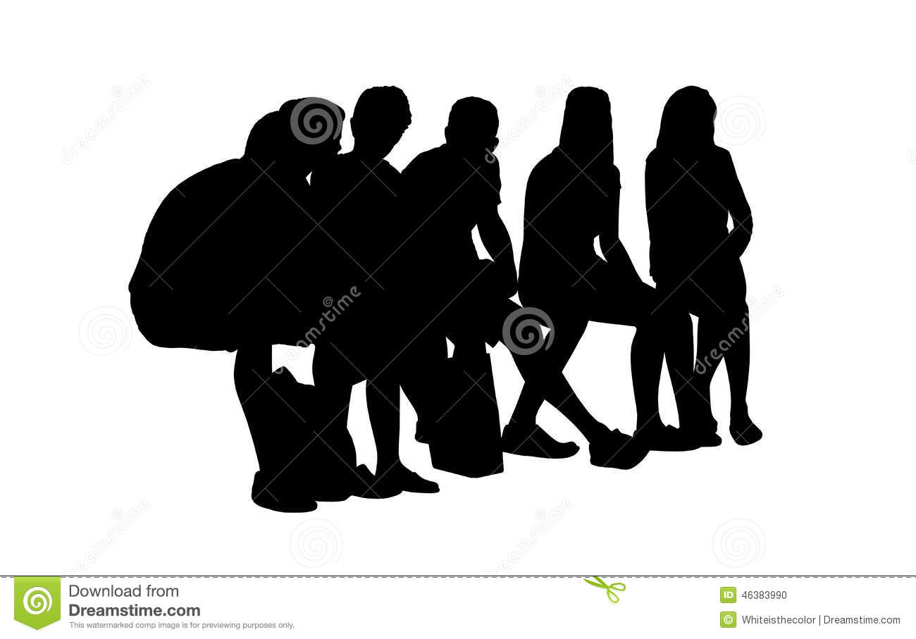 People Seated Outdoor Silhouettes Set 14 Stock